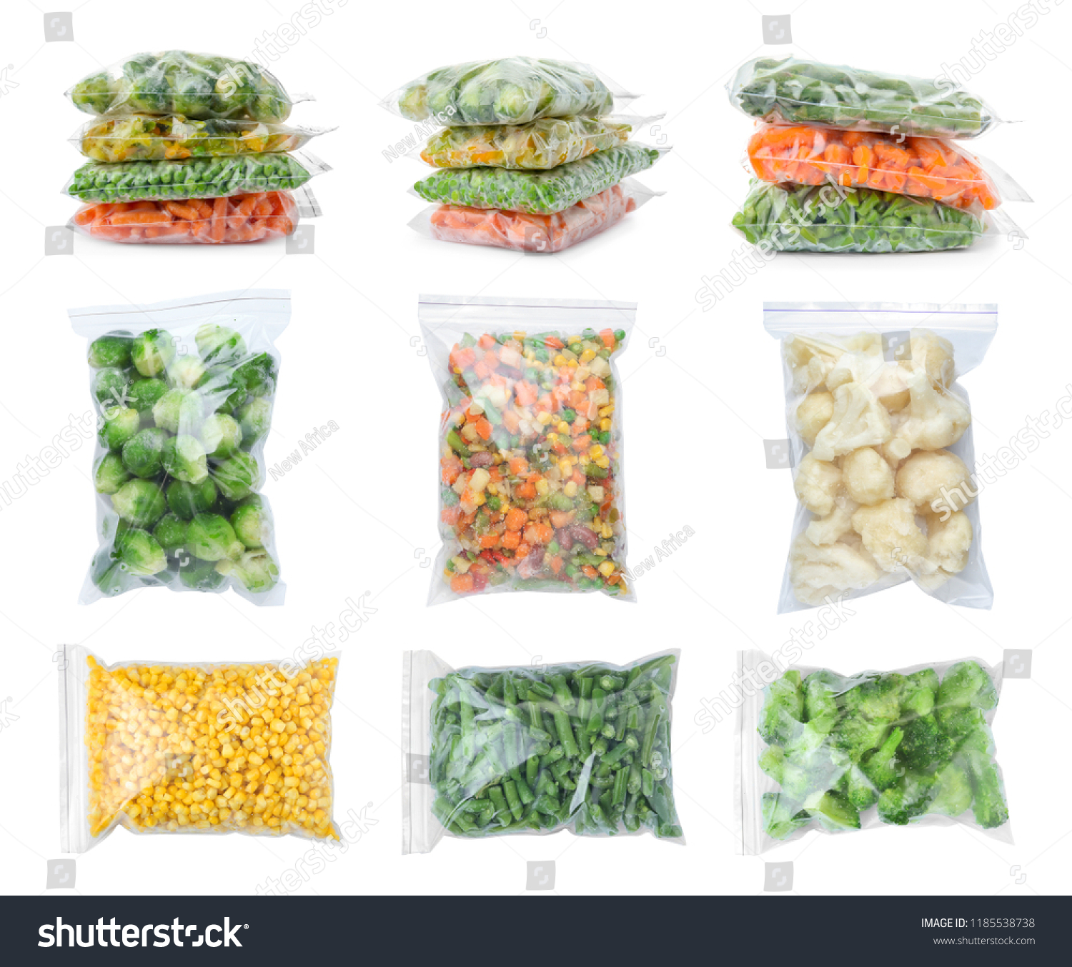 Set with frozen vegetables in plastic bags on white background #1185538738