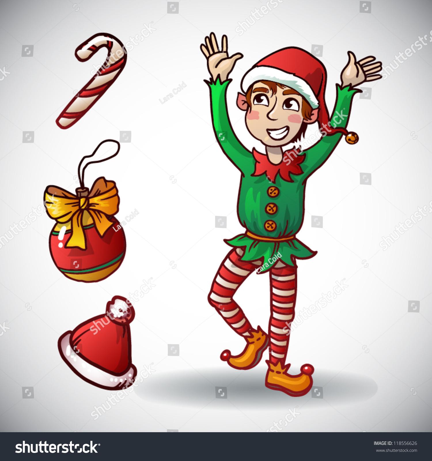 Christmas Elf Funny Holiday Character Vector Stock Vector (Royalty ...