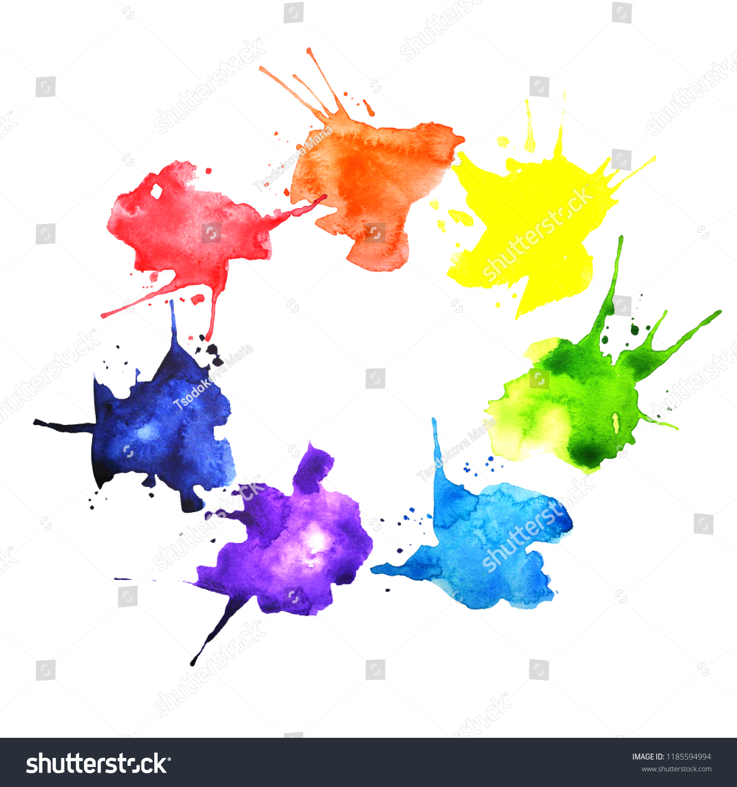 Hand Drawn Watercolor Splashes Shape Color Stock Illustration
