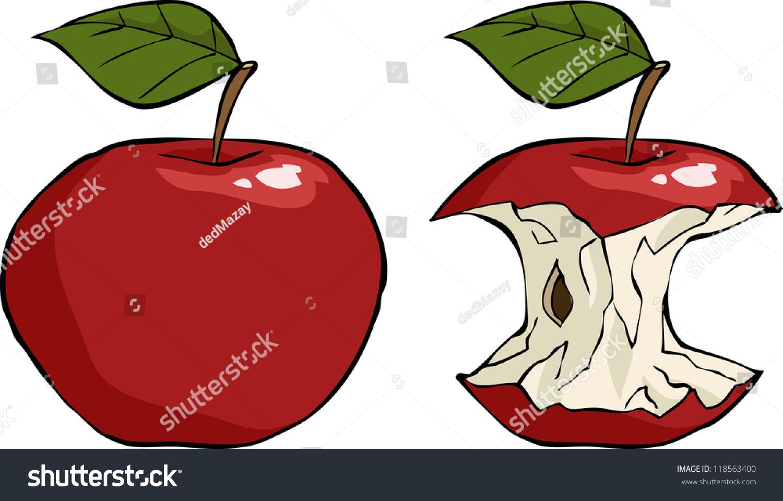Apple And Apple Core Cartoon Vector Illustration ...