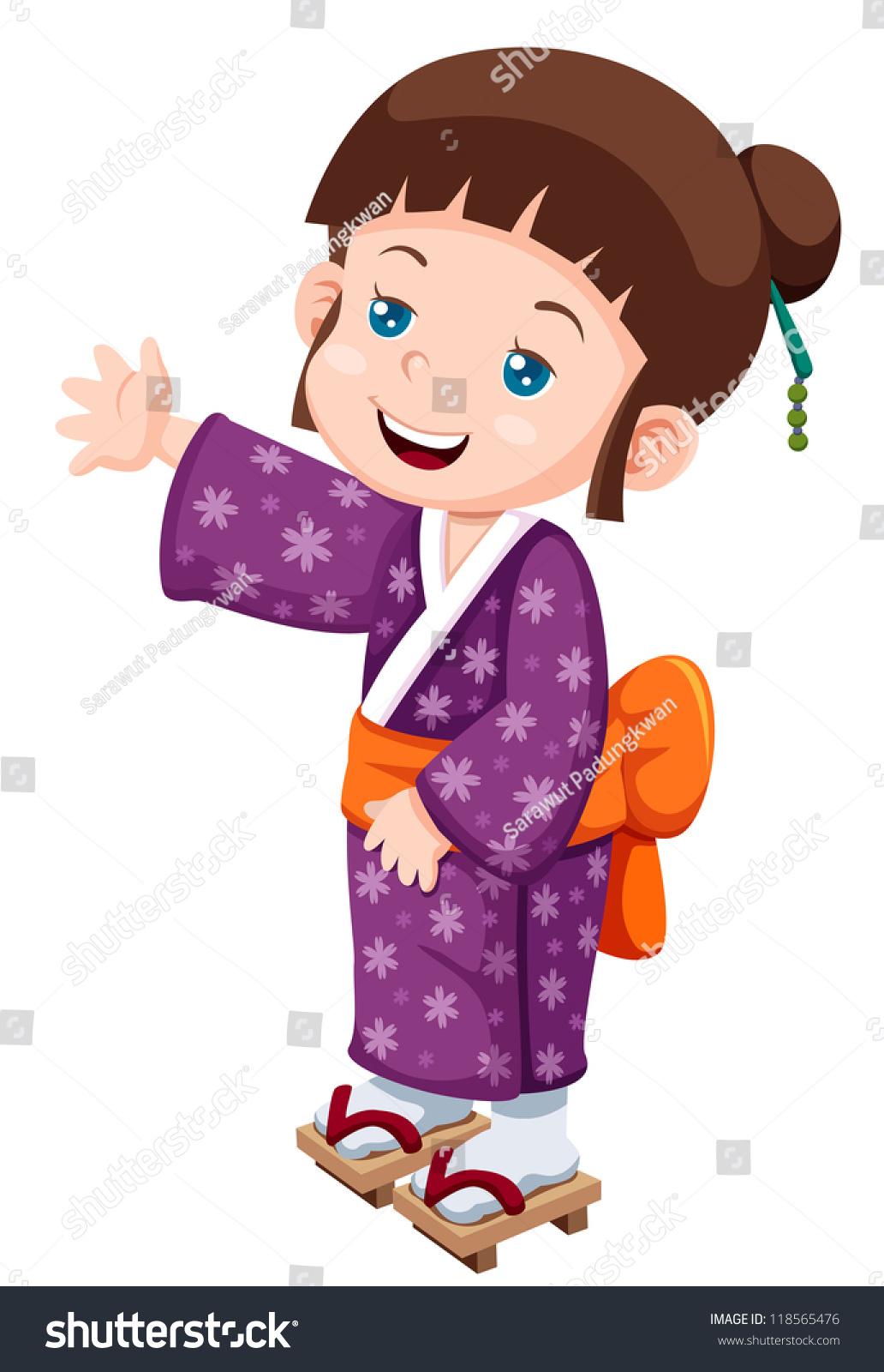 Illustration Of Cute Little Japanese Girl.Vector ...