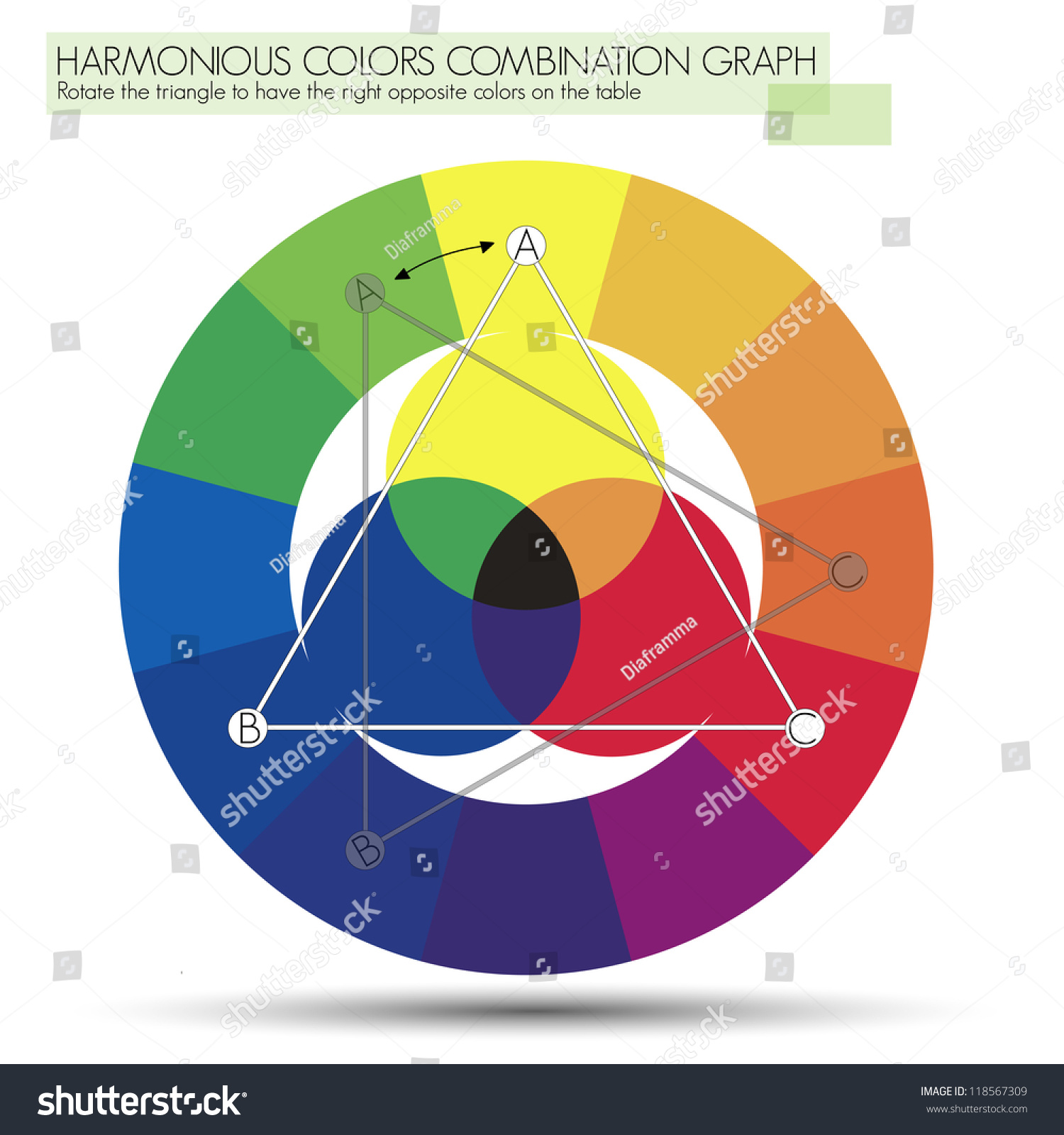 Graph triangle primary colors chart explain stock vector 118567309 graph for the triangle or primary colors chart to explain the use of the triangle of nvjuhfo Image collections