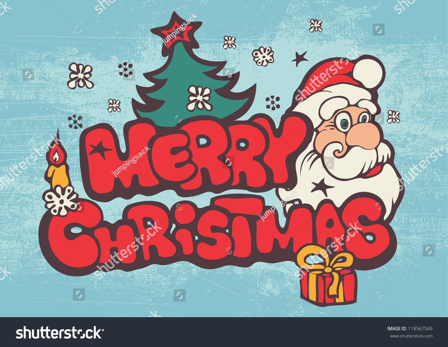 Greeting christmas card funny santa words stock vector 118567549 greeting christmas card with funny santa and words merry christmas color vector illustration kristyandbryce Choice Image