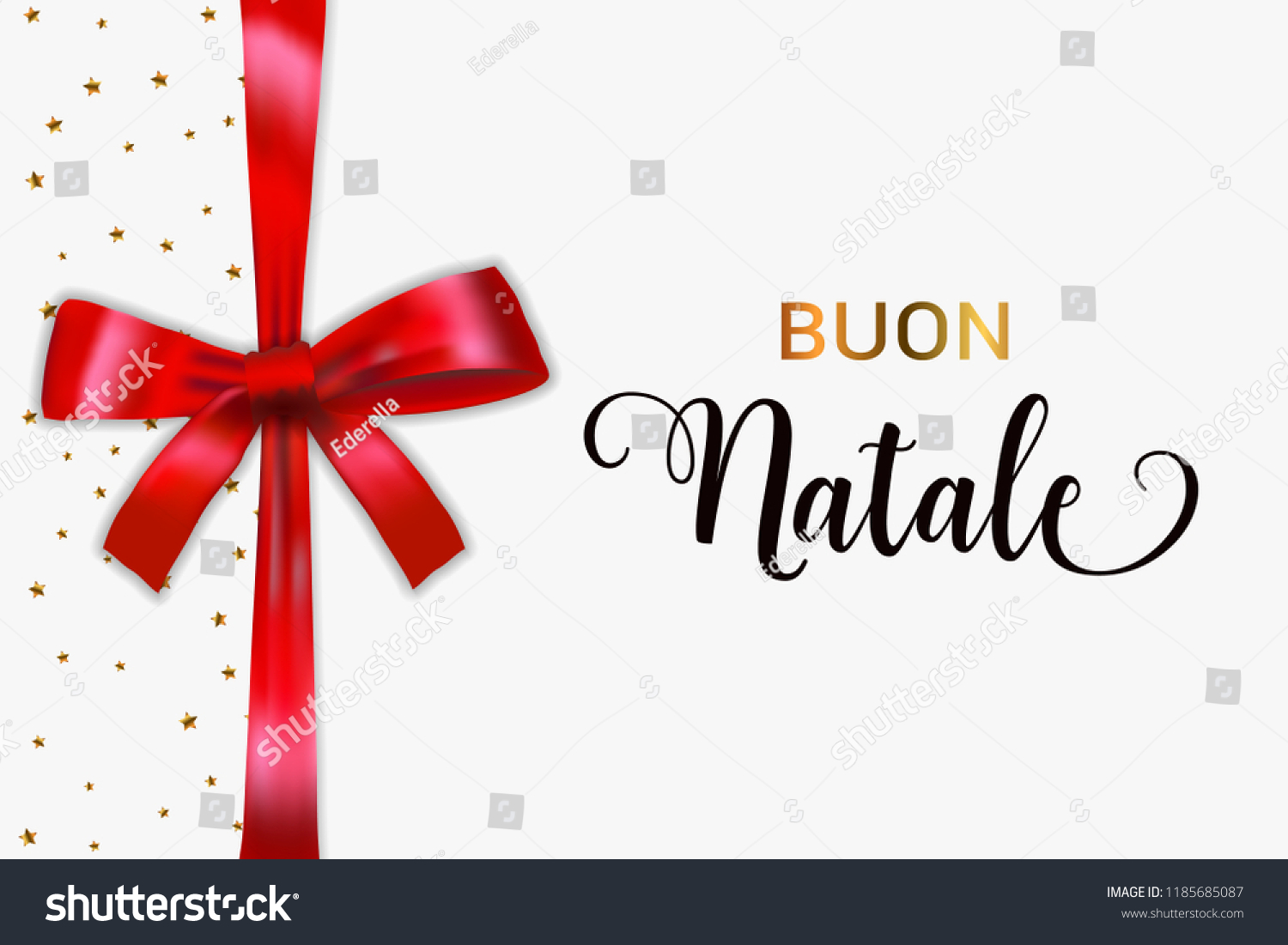 Buon Natale Merry Christmas Italian Typography Stock Vector (Royalty ...