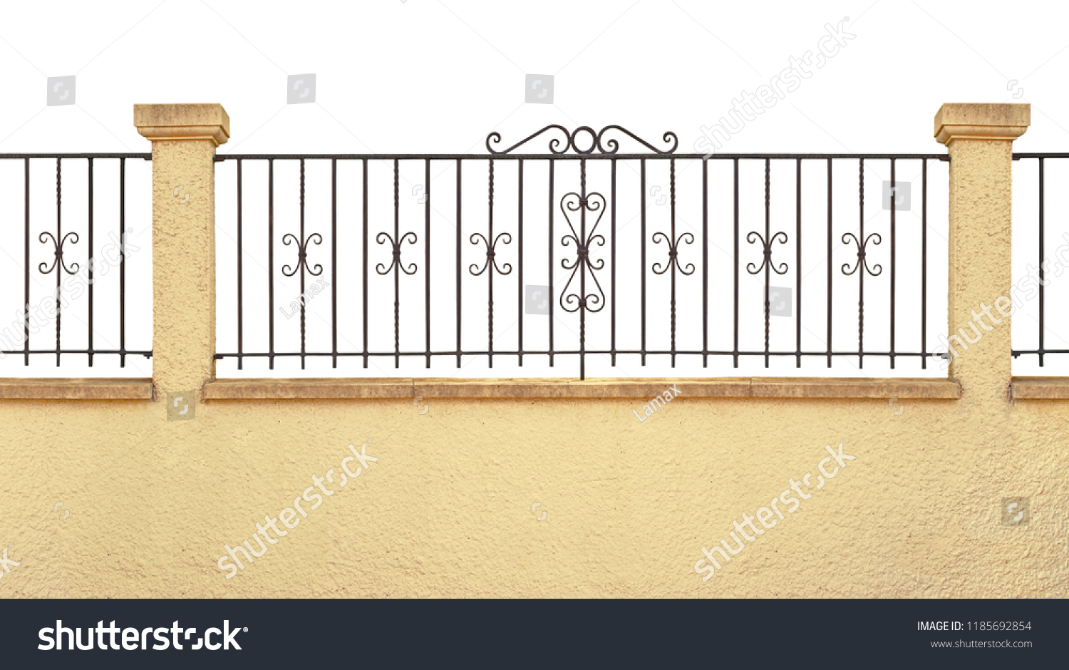 Wrought Iron Fence Grid Installed On Stock Photo (Edit Now