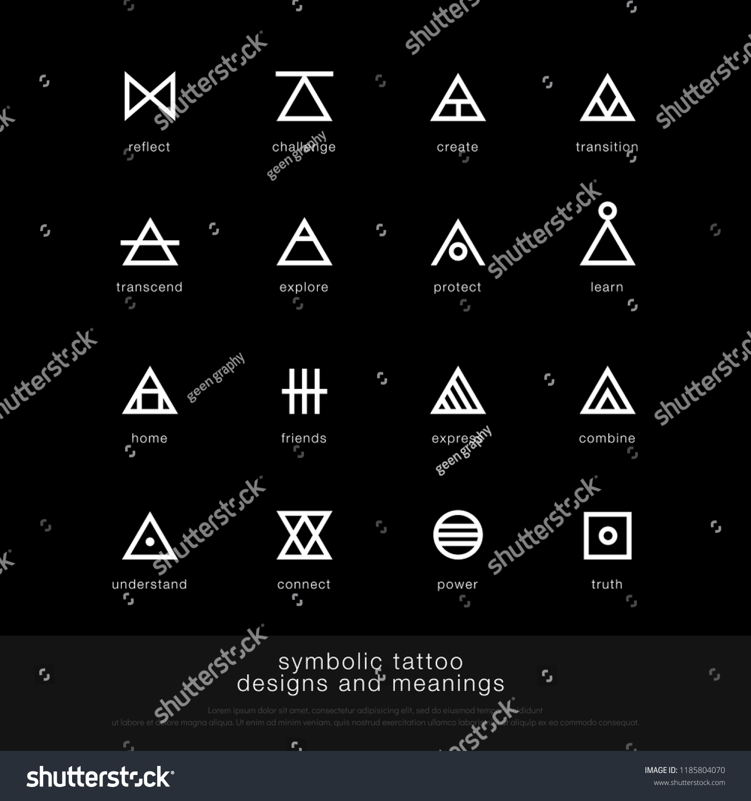 Symbolic Tattoo Design Meaning Minimalist Graphic Stock Vector