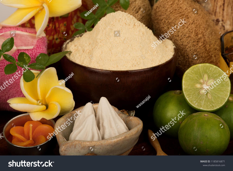 Face Mask Thanaka Powder Lemon Juice Stock Photo (Edit Now