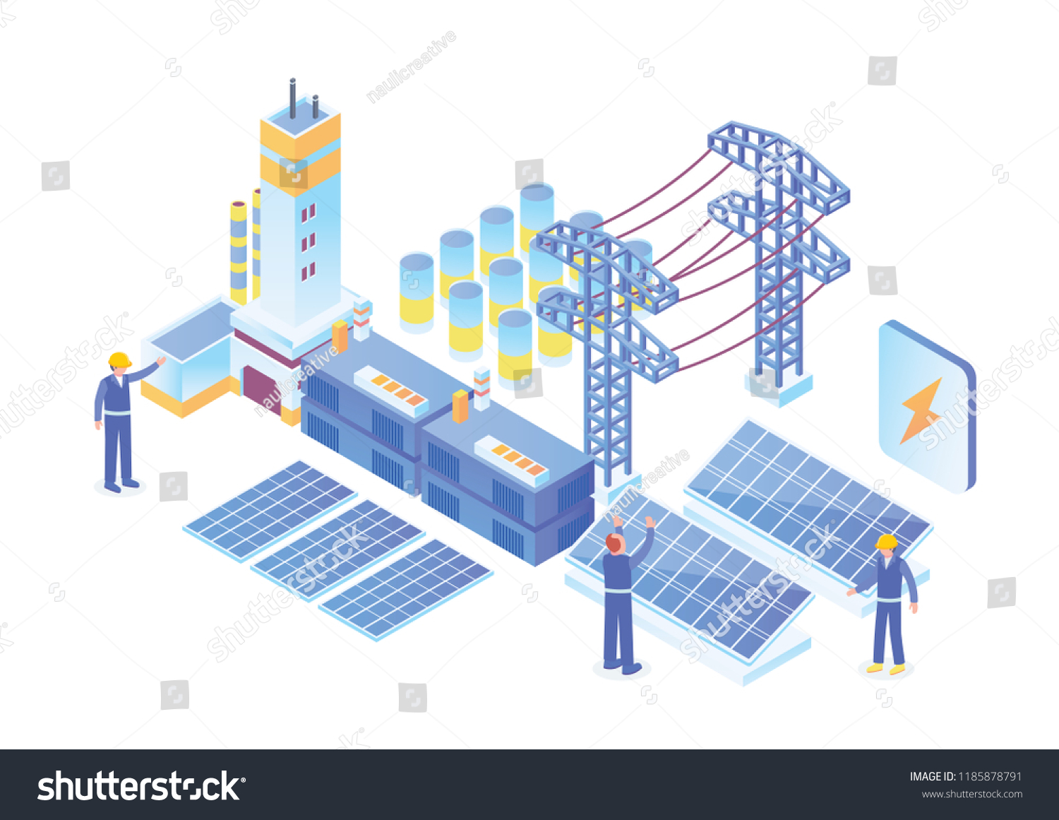 Modern Isometric Smart Electricity Solar Power Stock Vector Royalty Diagram Of Plant Illustration Suitable For Diagrams Infographics Book