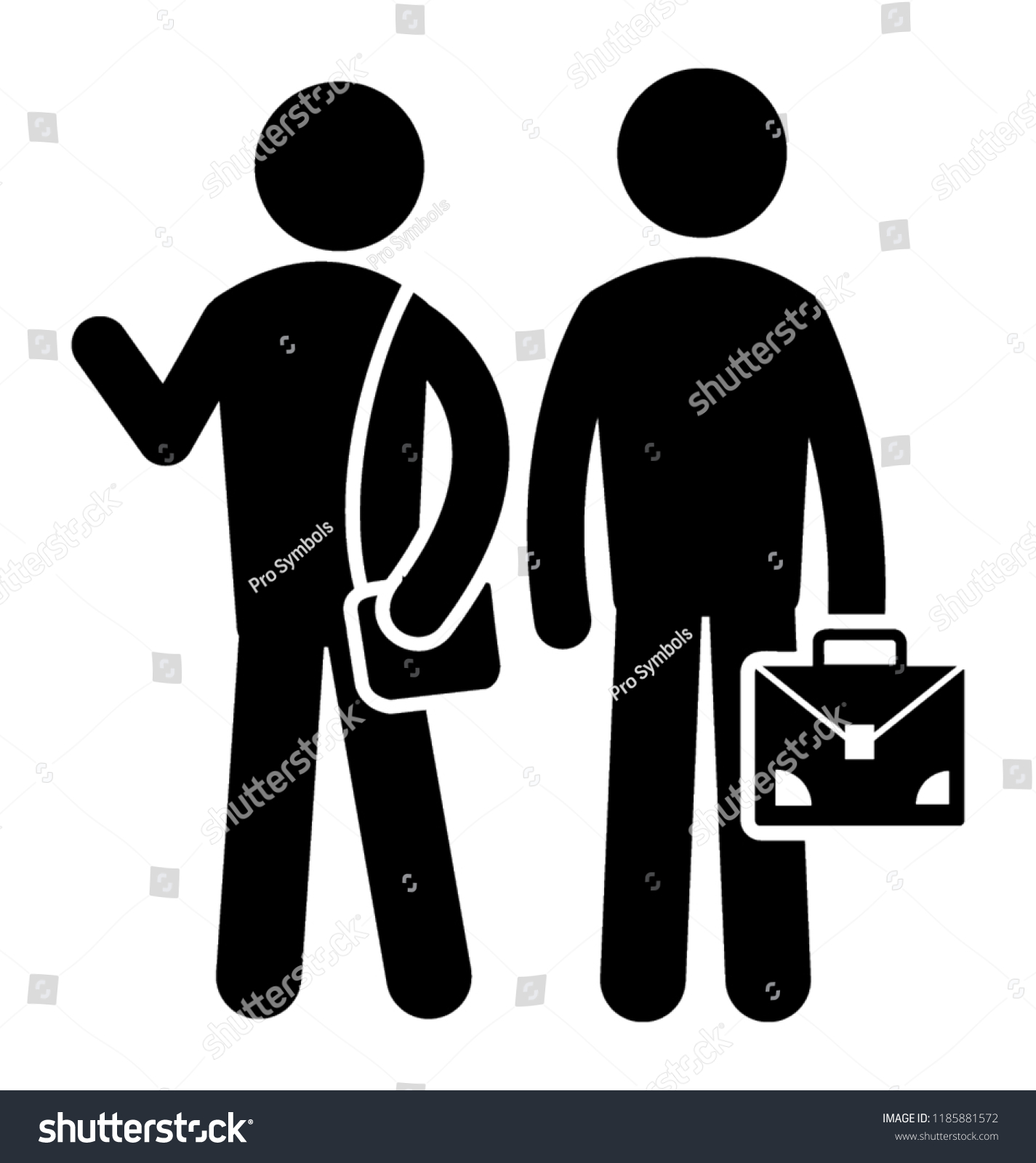 4907150d5 Two male and female humans standing with bags to denote two teachers icon