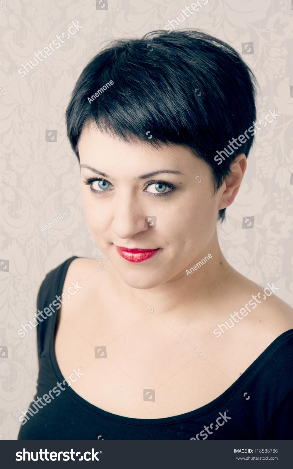 Portrait Beautiful Woman Short Hair Blue Stock Photo Edit Now 118588786