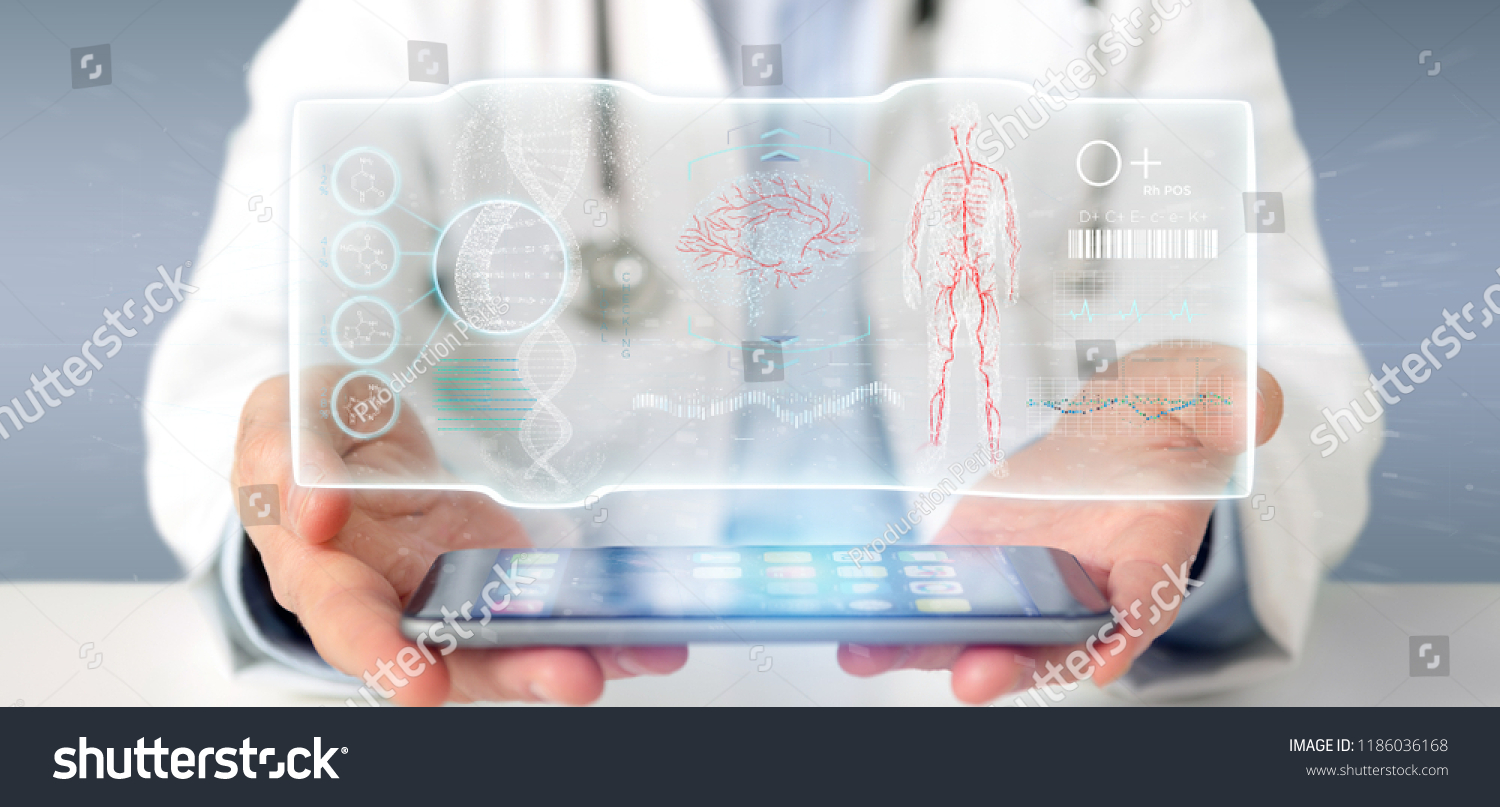 View of a Doctor holding a Futuristic template interface hud #1186036168