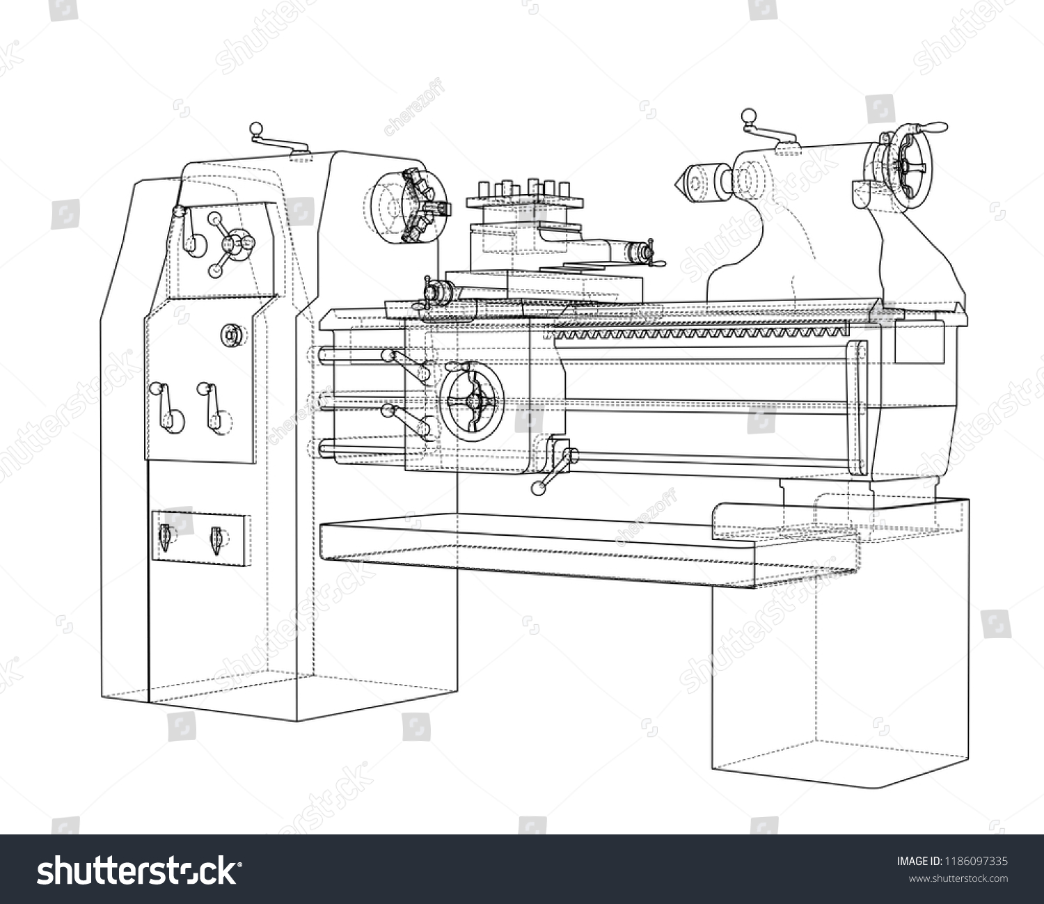 Lathe Concept Vector Rendering 3 D Wireframe Stock Royalty Metal Wiring Diagram Of 3d Wire Frame Style The Layers