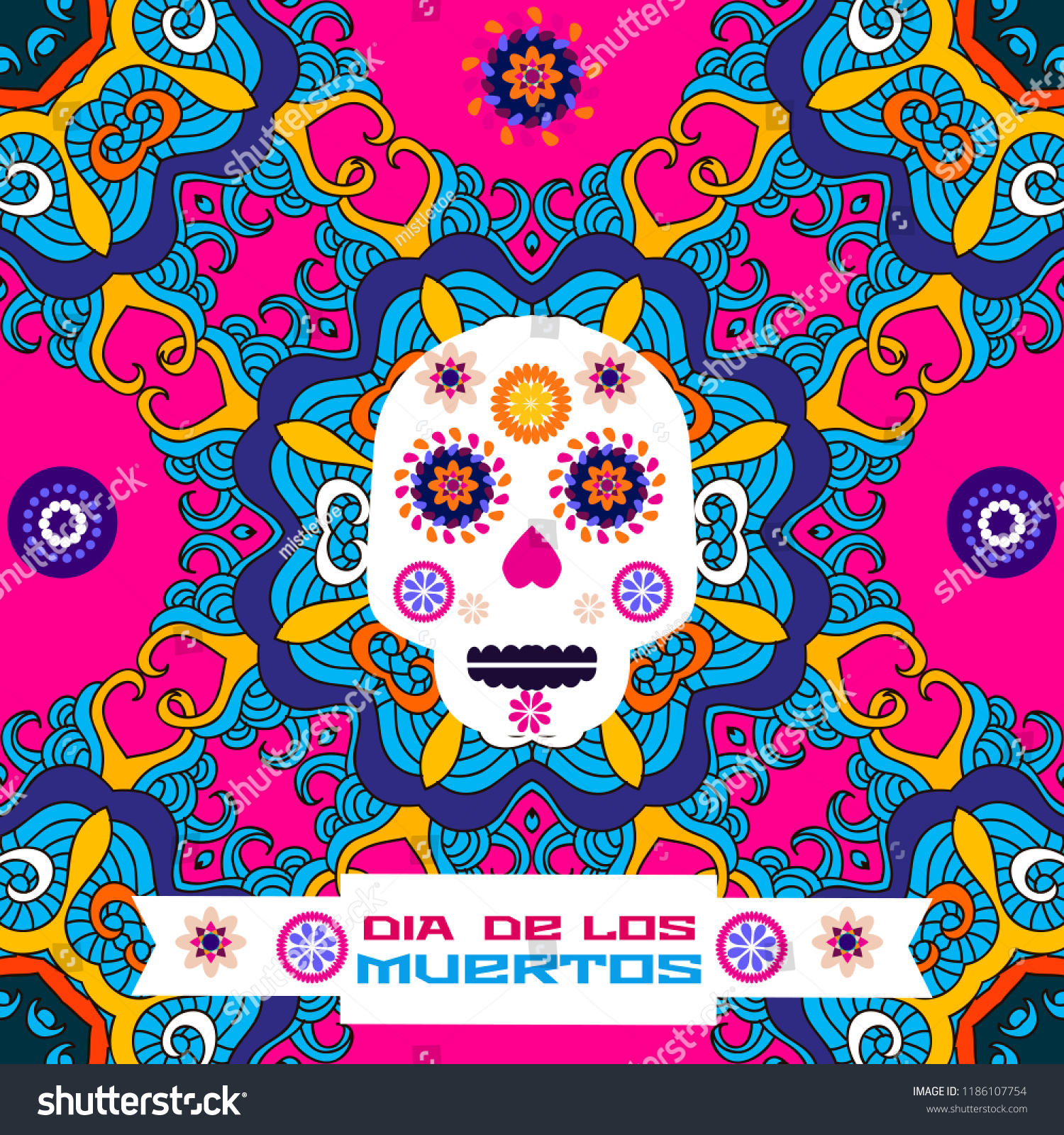 Dia De Los Muertos Day Of The Dead Or Halloween Greeting Card Invitation
