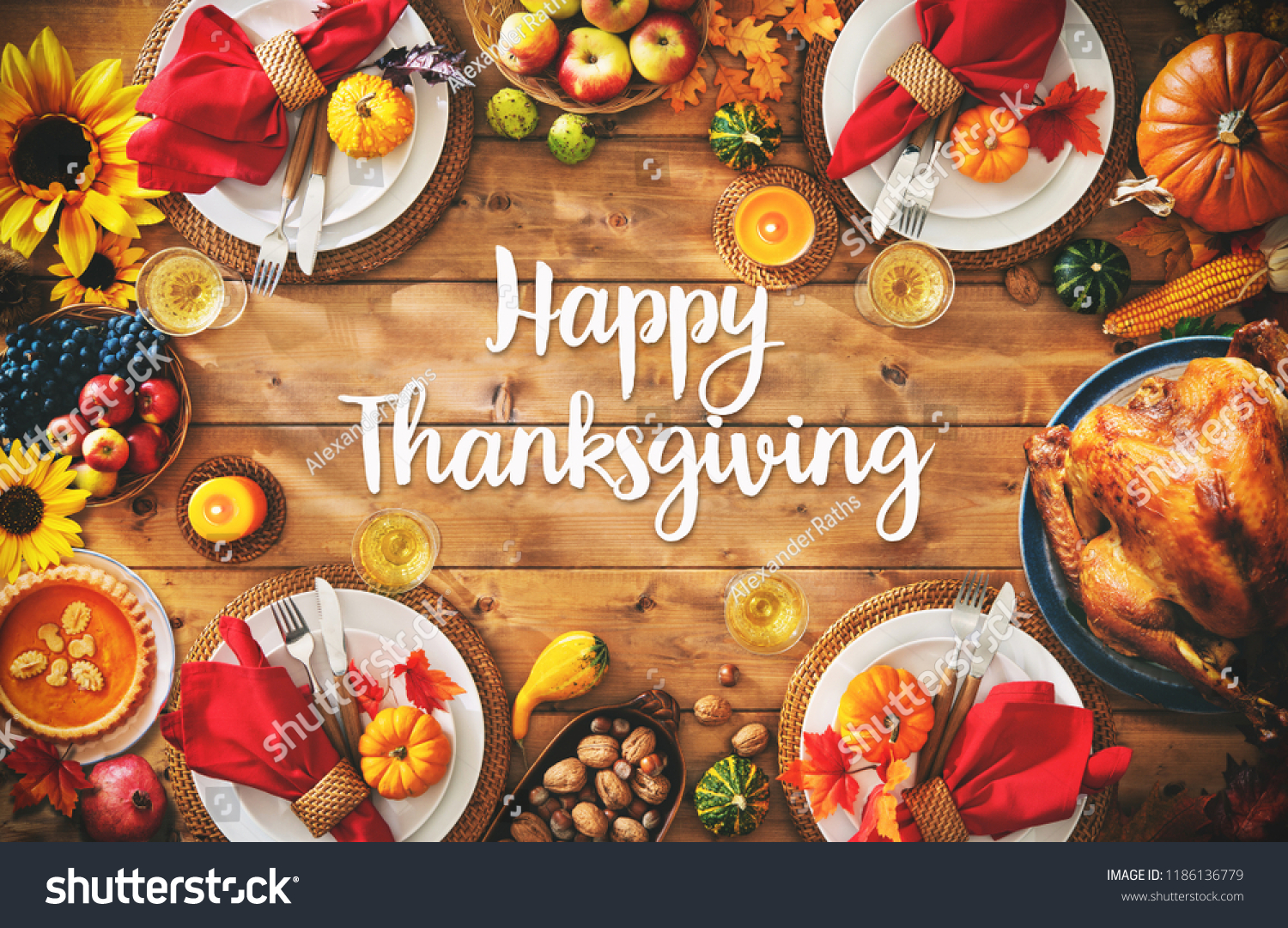 Thanksgiving celebration traditional dinner setting meal concept with Happy Thanksgiving text #1186136779