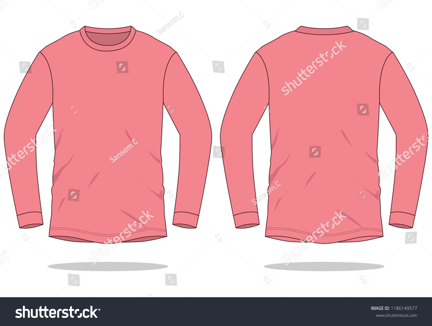 Rose Long Sleeve T Shirt Template Front And Back Views
