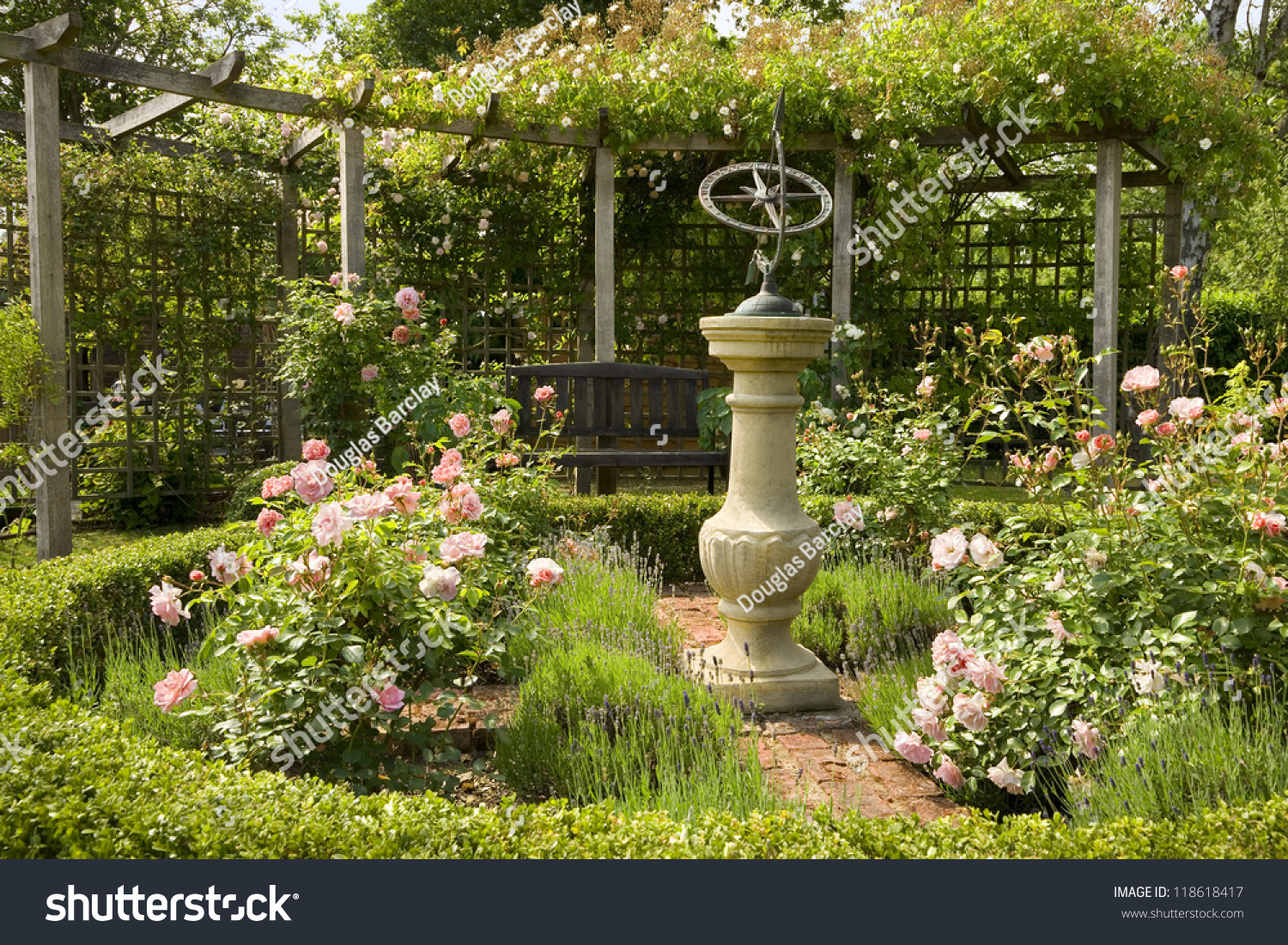 English Country Rose Garden With Sundial