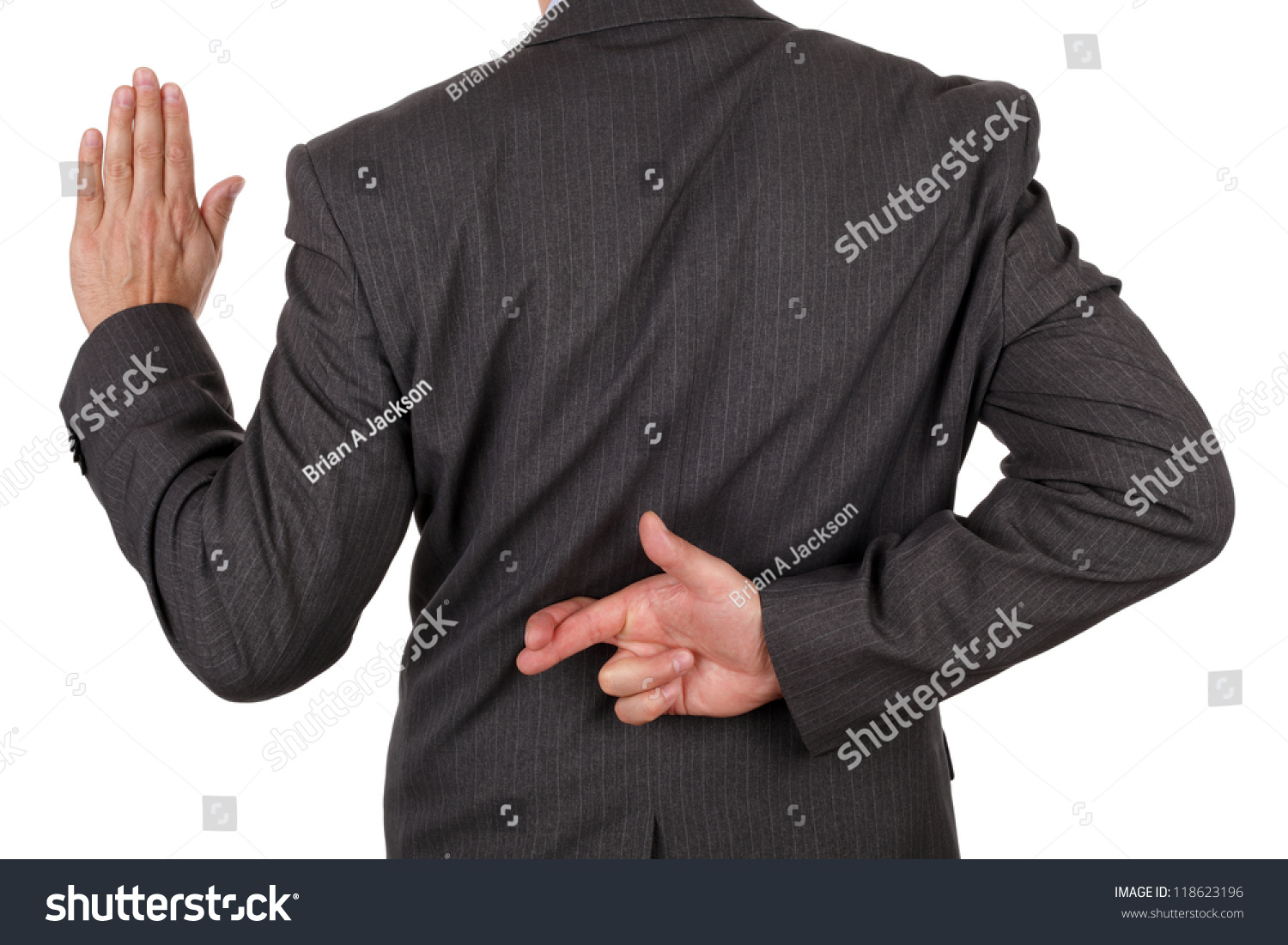Swearing Oath Fingers Crossed Behind Back Stock Photo Edit Now