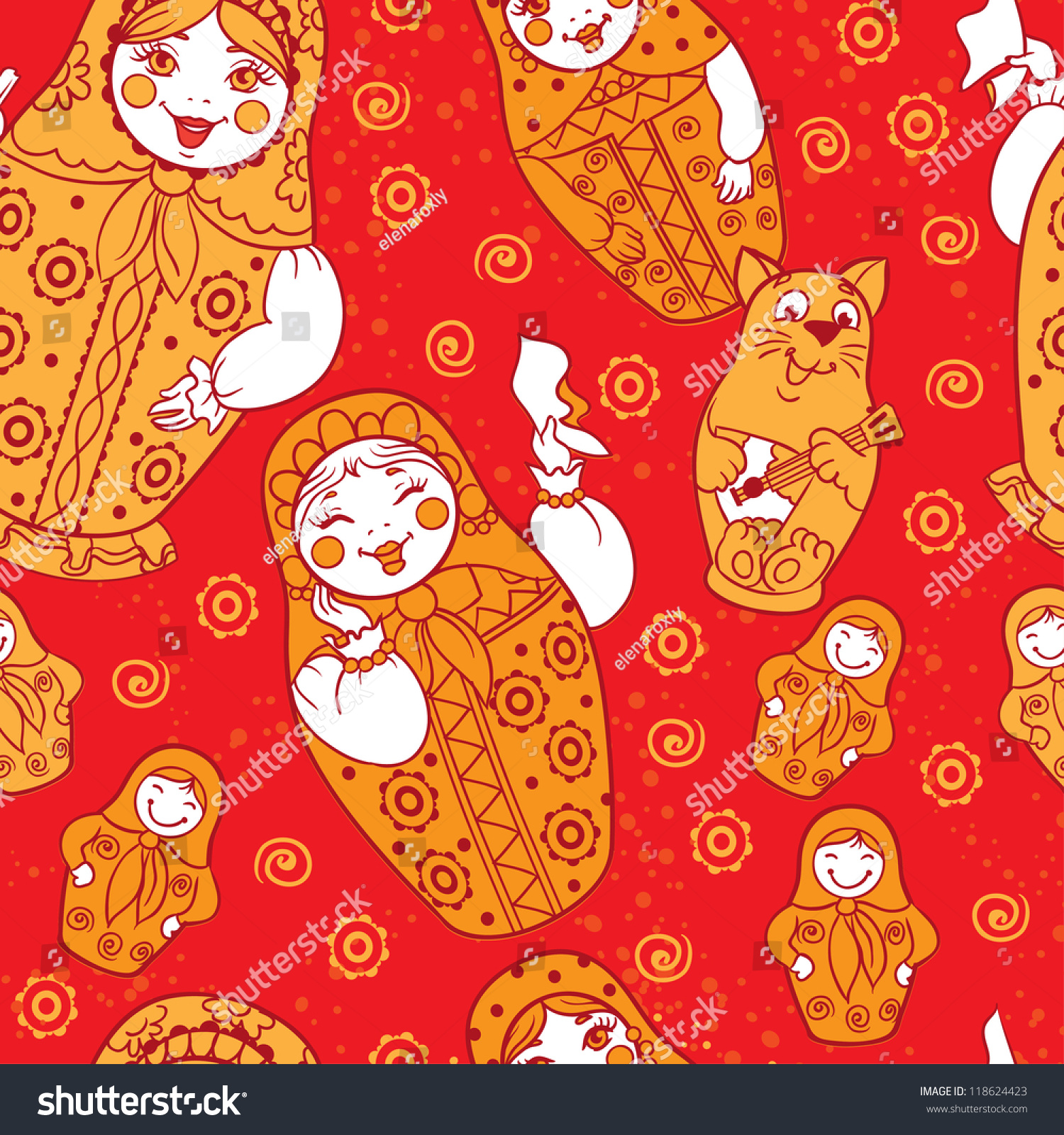 seamless russian dolls pattern russian nested stock vector