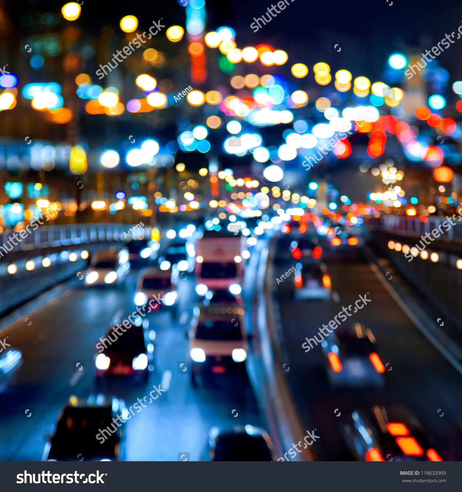 Evening Traffic. The City Lights. Motion Blur. Abstract