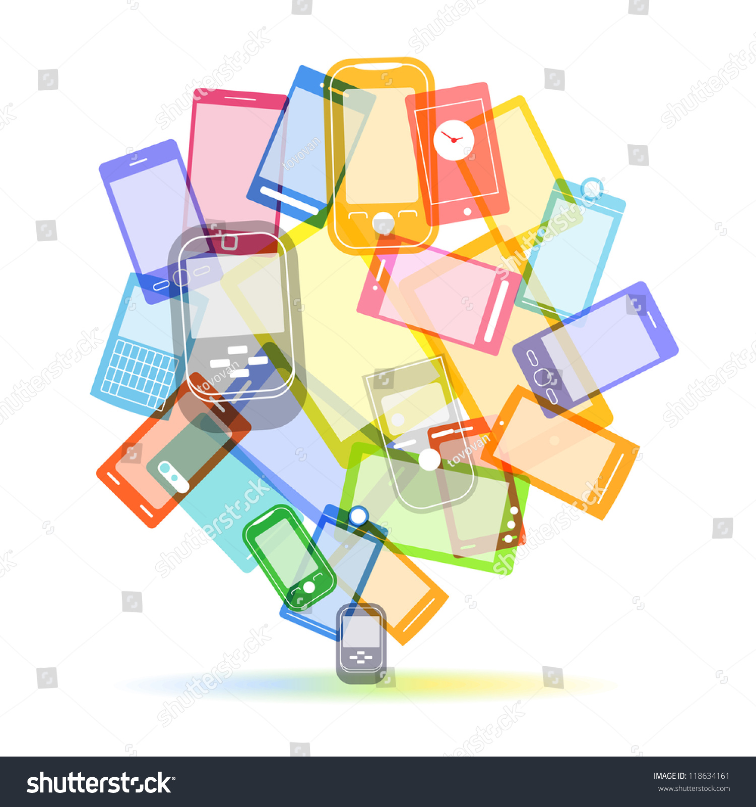 abstract color speech cloud modern mobile stock vector   - abstract color speech cloud of modern mobile phones