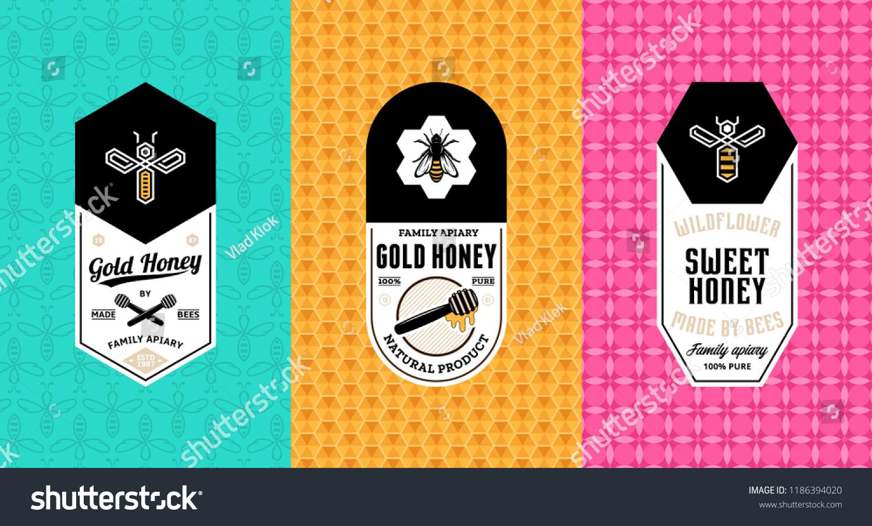 Honey Labels Logo Packaging Design Templates Stock Vector Royalty
