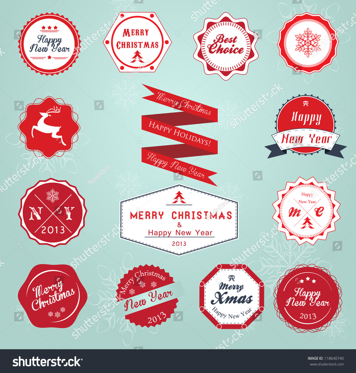 vintage styled christmas and new year label collection