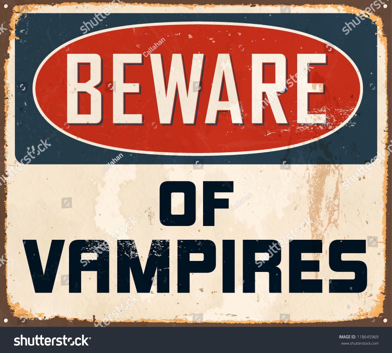 Halloween Decoration Beware of Vampires Metal Sign Vintage Effect