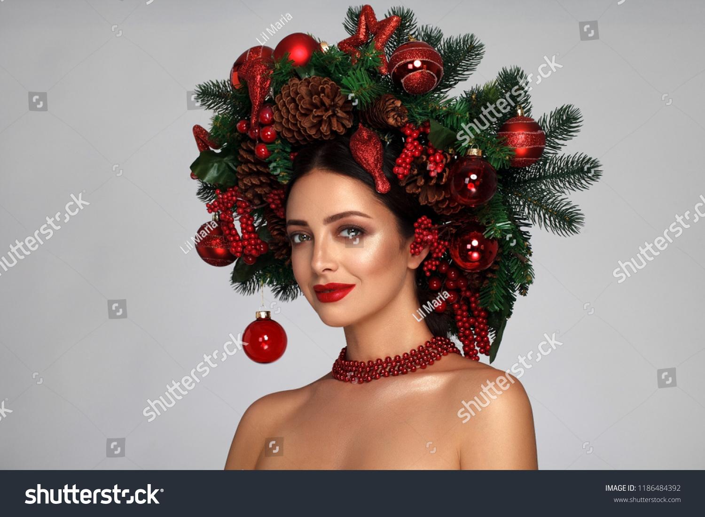 Christmas Winter Woman Beautiful New Year Stock Photo Edit Now