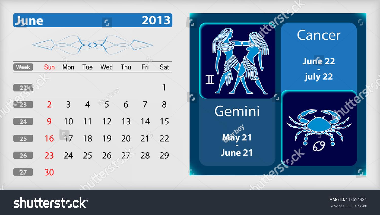 Zodiac Calendar June : June calendar zodiac stock vector  shutterstock