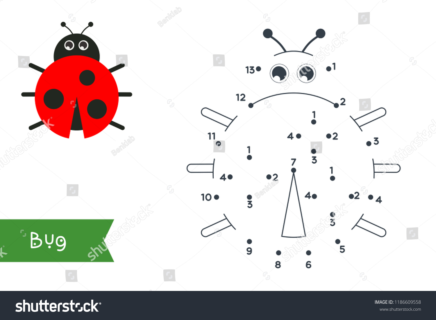 Connect Dots Draw Color Animal Vector Stock Vector Royalty Free ...