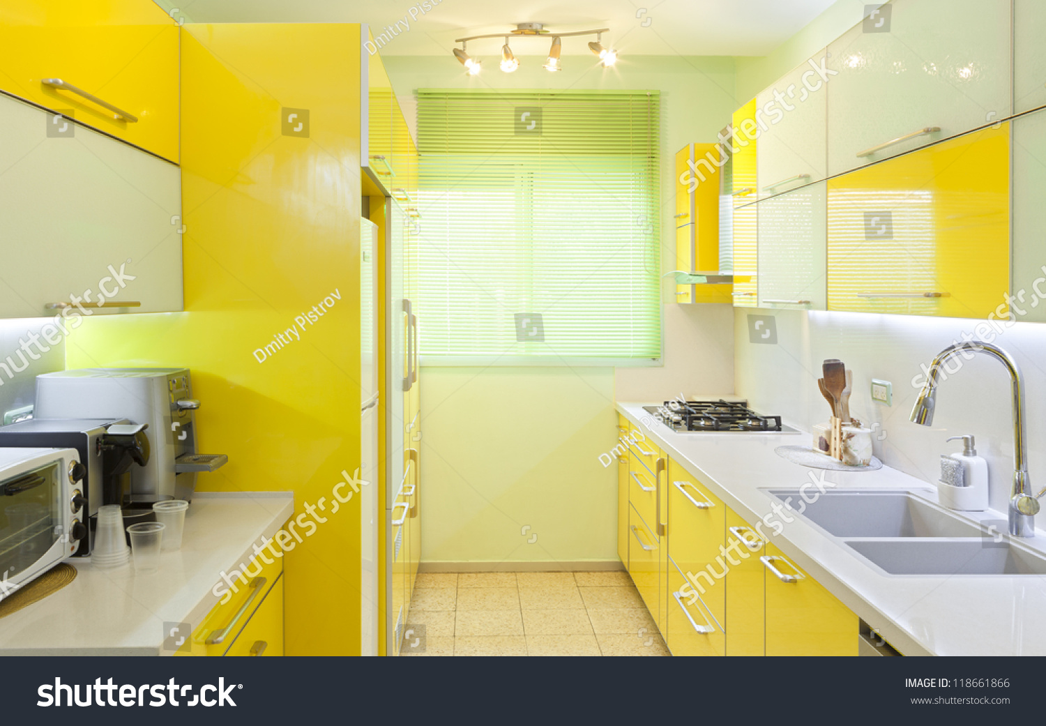 Modern Design Kitchen With Yellow And Green Elements Stock Photo 118661866 Shutterstock