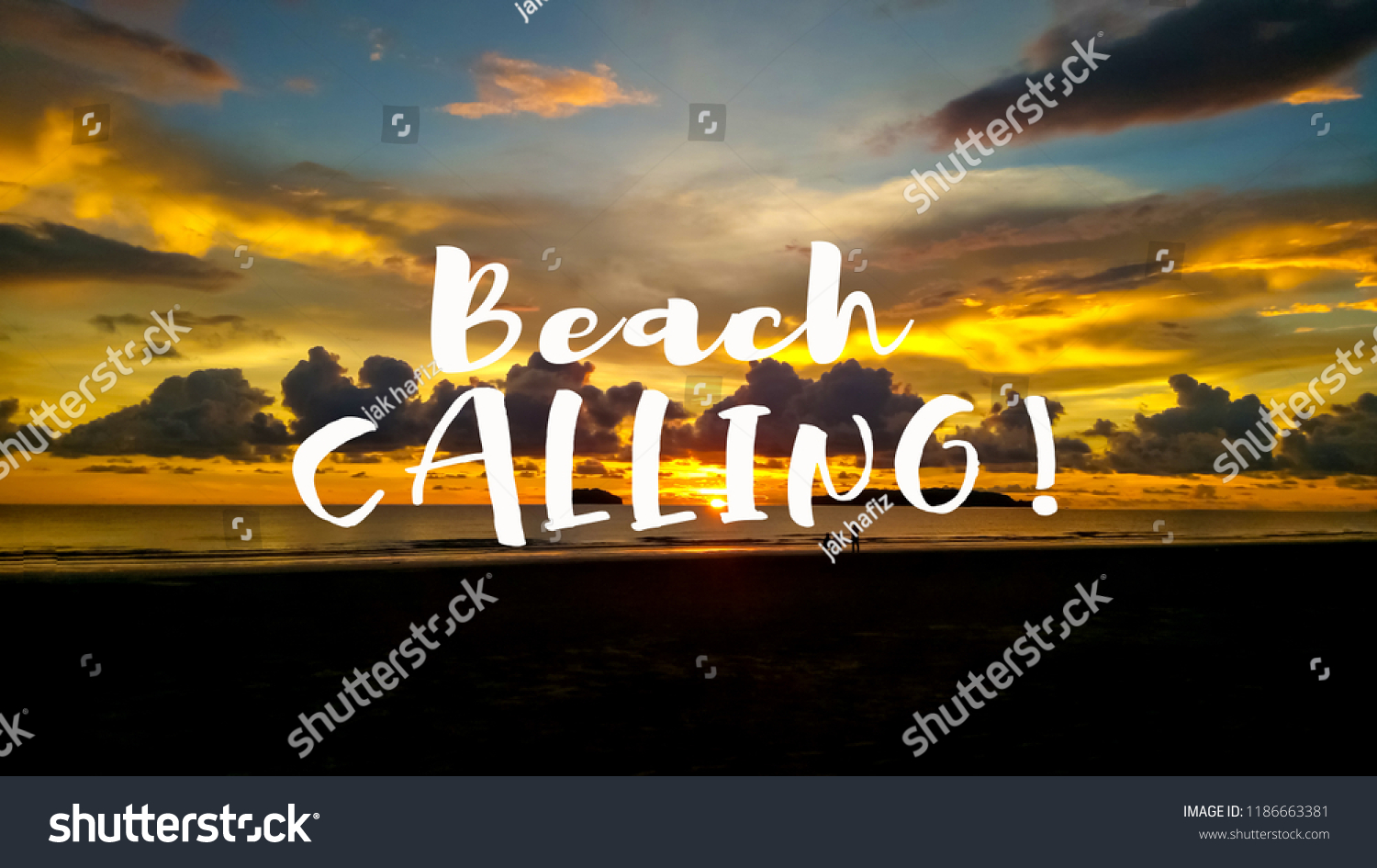 Beach Calling Quotes Against Sunset View Stock Photo Edit Now