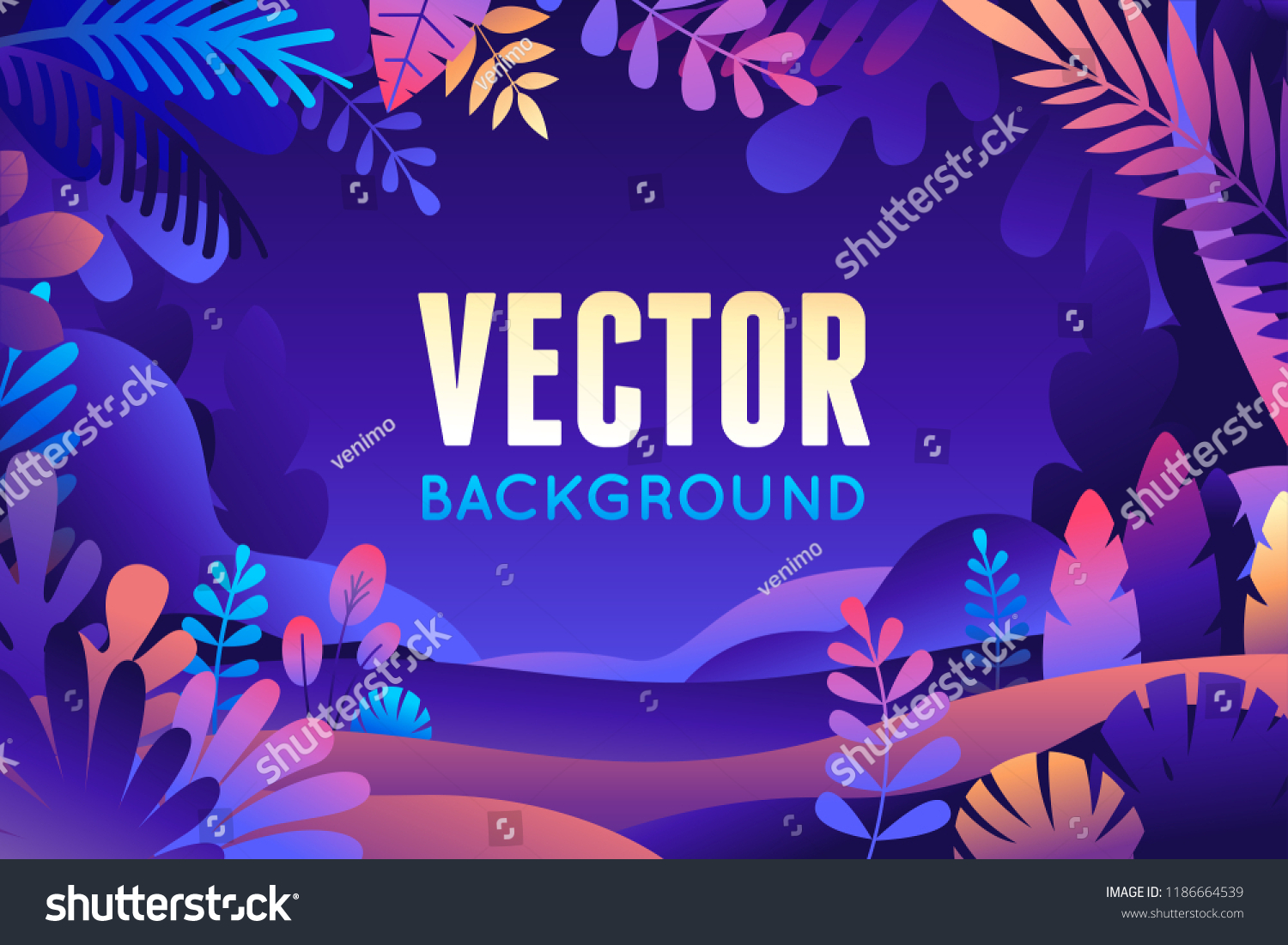 Vector illustration in trendy flat style and bright vibrant gradient colors - background with copy space for text - plants, leaves, trees and sky - background for banner, greeting card