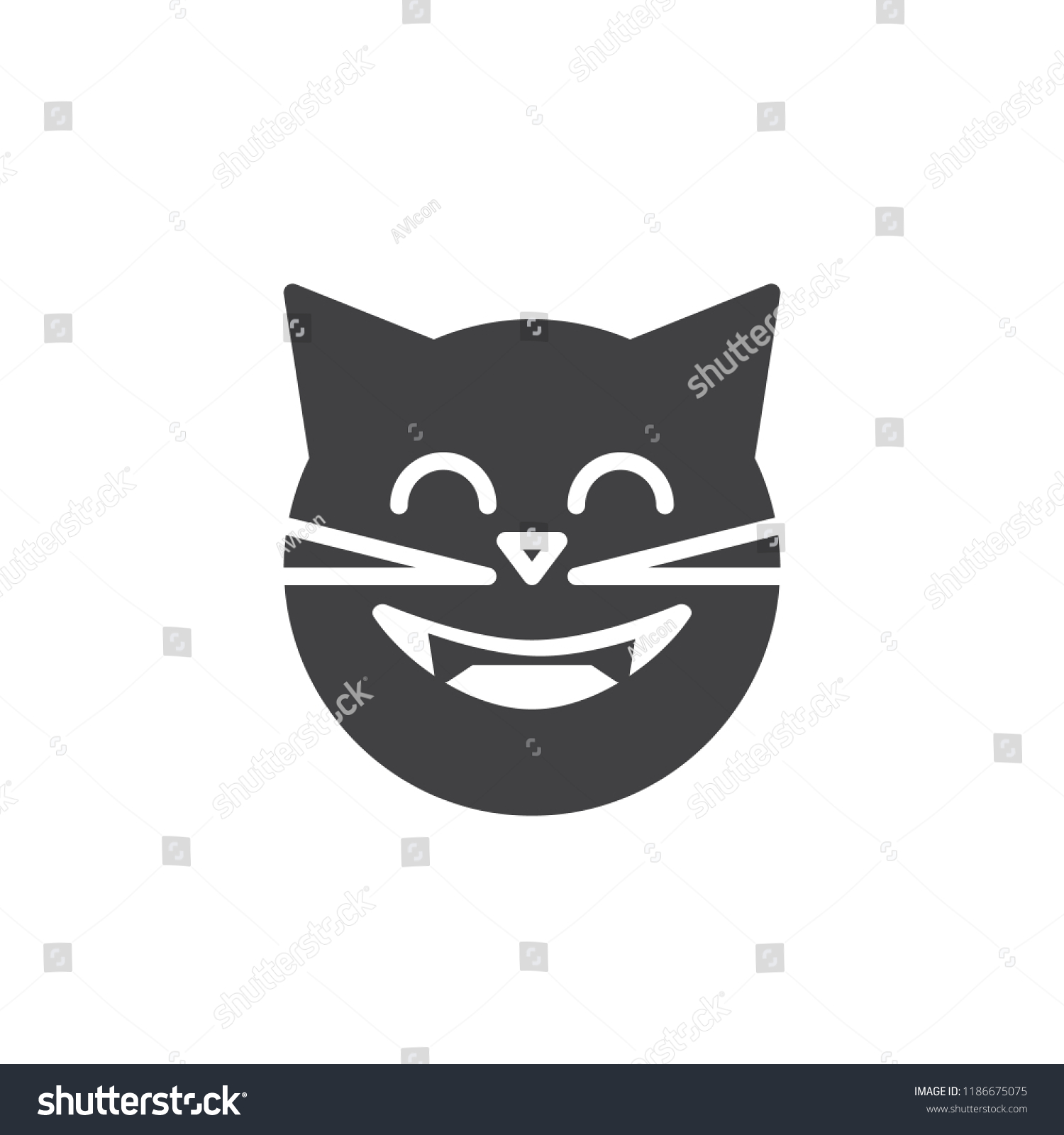 Laughing Cat Face Emoticon Vector Icon Stock Vector Royalty Free