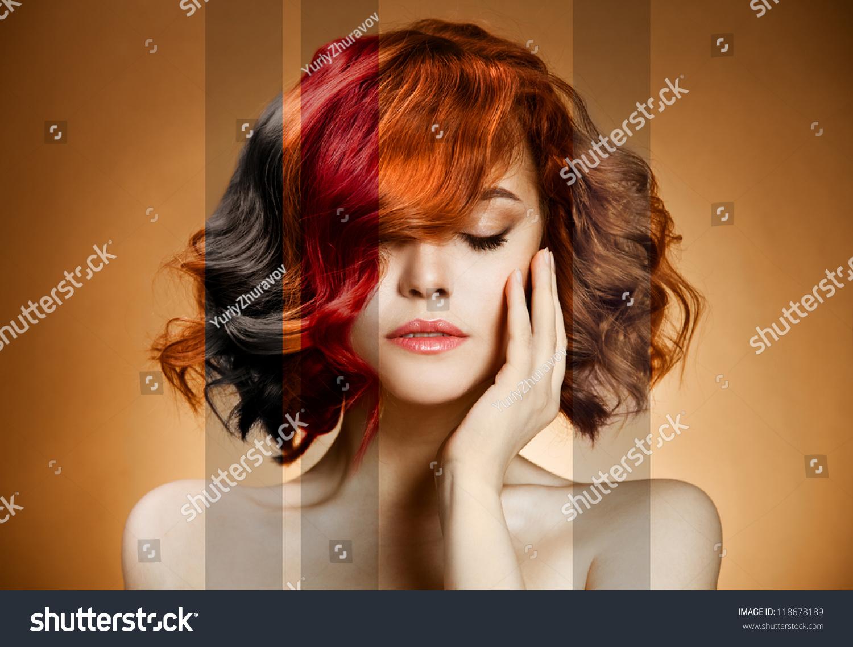 Beauty Portrait Concept Coloring Hair Stock Photo 118678189 ...