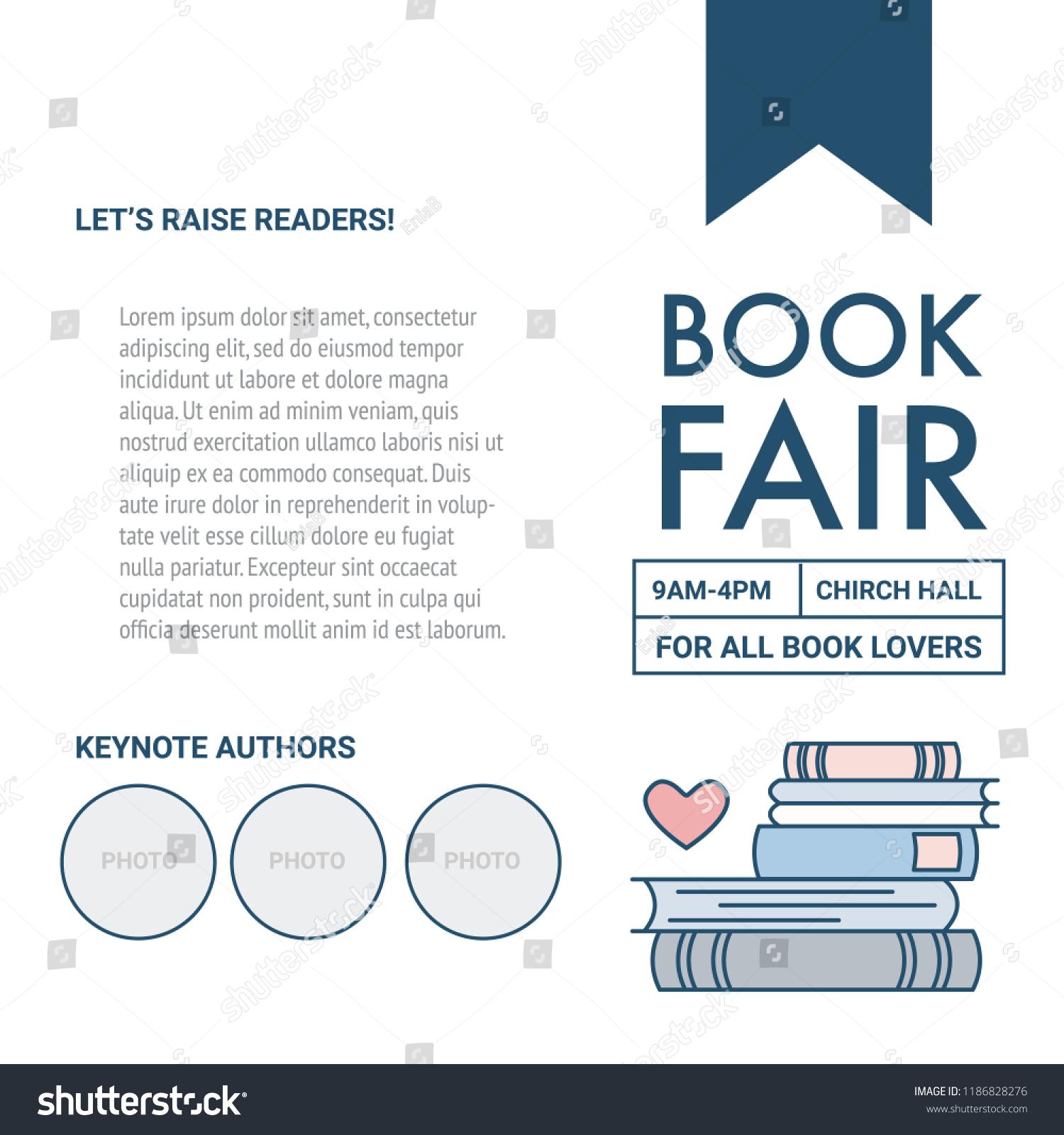 Book Fair Poster Template Header Text Place Stock Vector Royalty