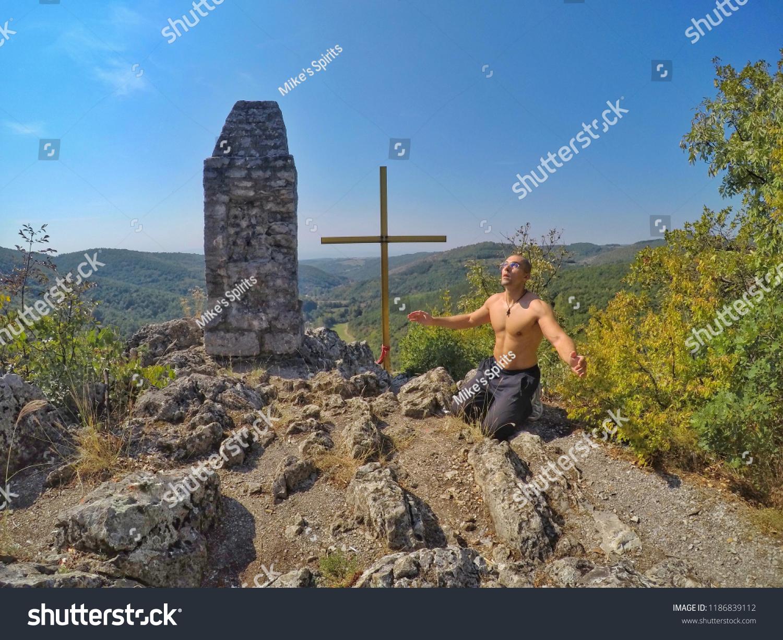 Man Praying Worshipping Praising God On Stock Photo (Edit