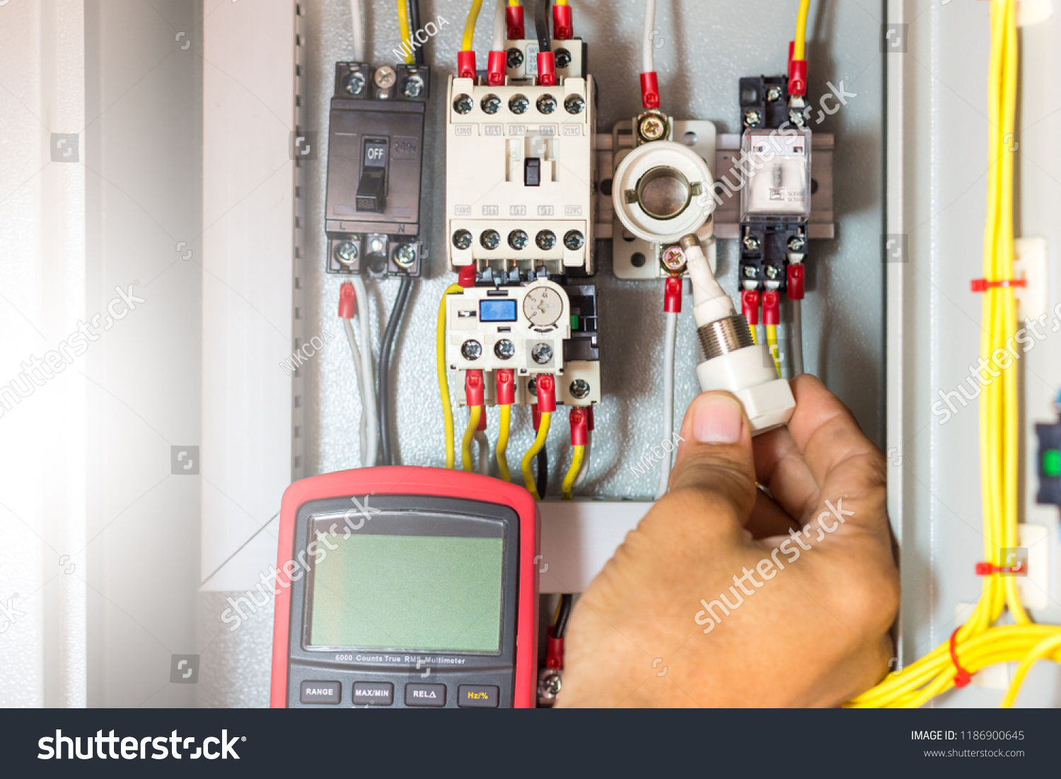 Electrical Terminal Box Control Panel Magnetic Stock Photo Edit Now Home Wiring Distribution With Contactor And Overload Relay Checking Cartridge Fuse