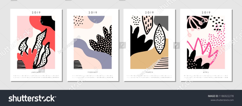 Four Printable A 4 Size 2019 Calendar Stock Vector Royalty Free
