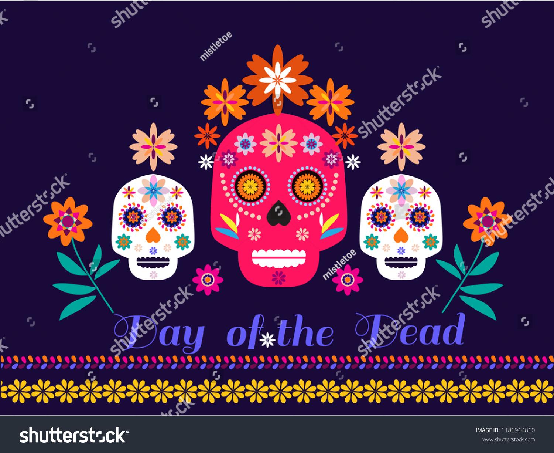 Dia De Los Muertos Day Of The Dead Or Halloween Greeting Card Invitation