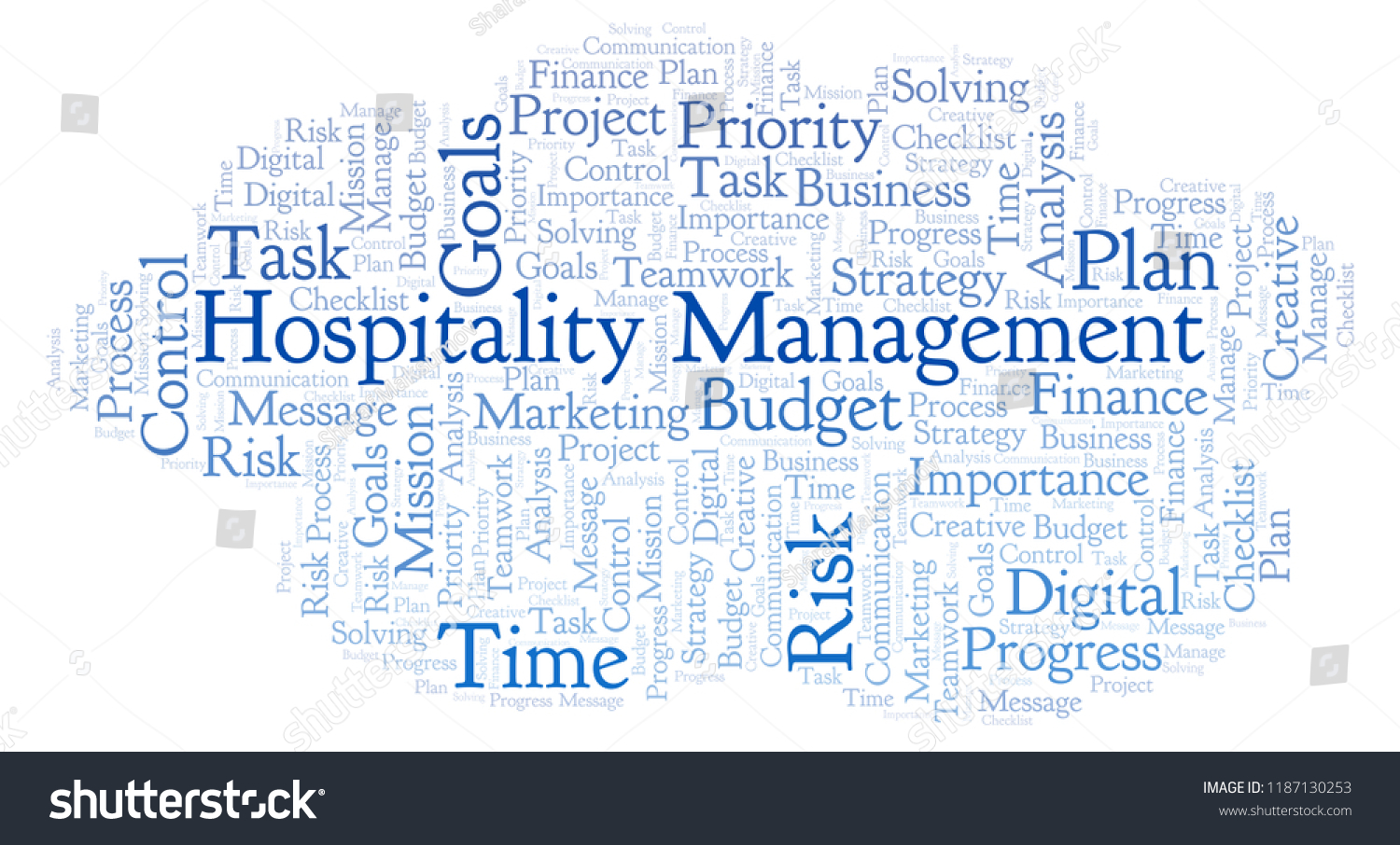 Hospitality Management Word Cloud Made Text Stock Illustration