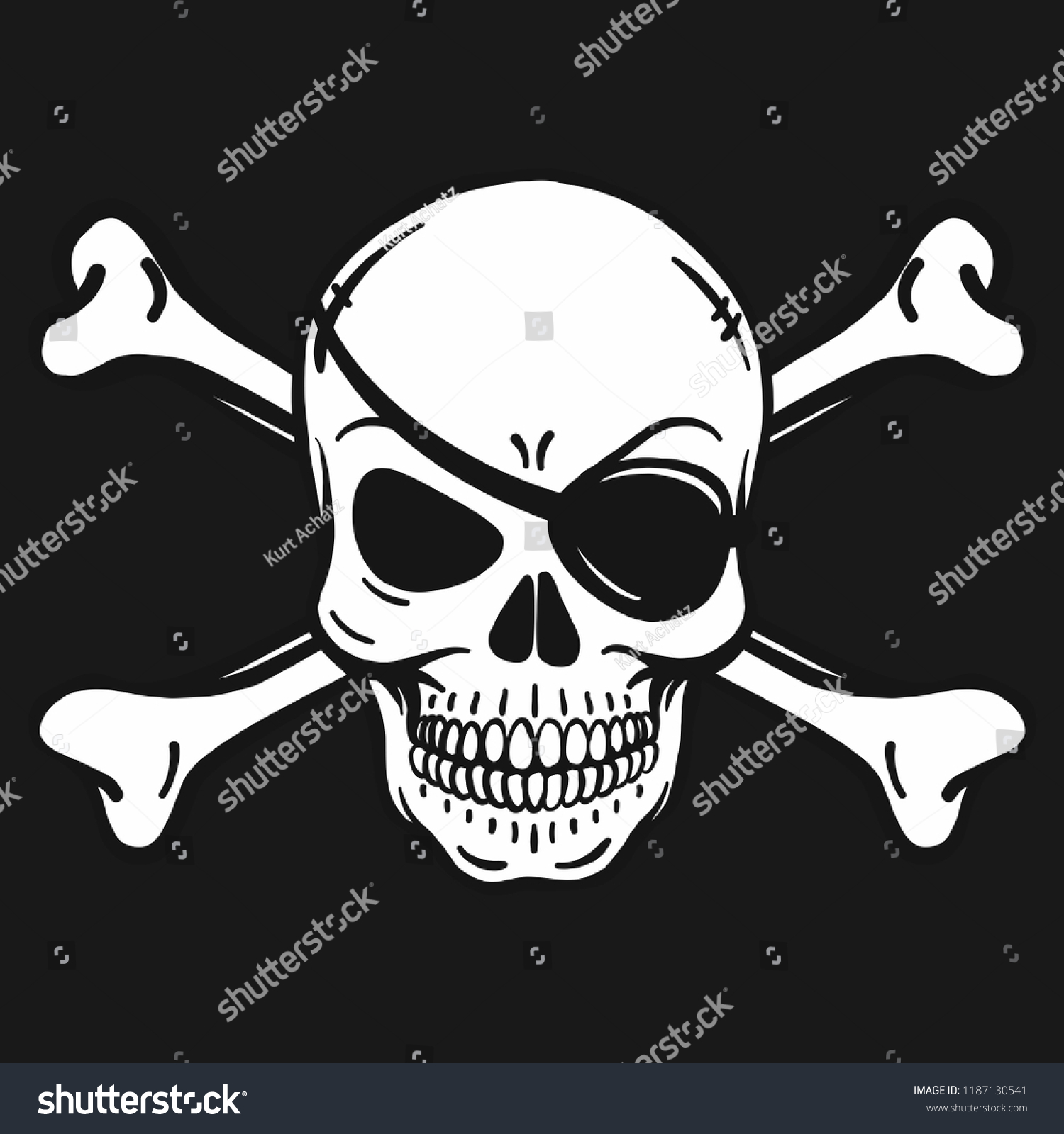 Bad Skull With Eye Patch And Crossbones Black White On Pirate Flag Vector