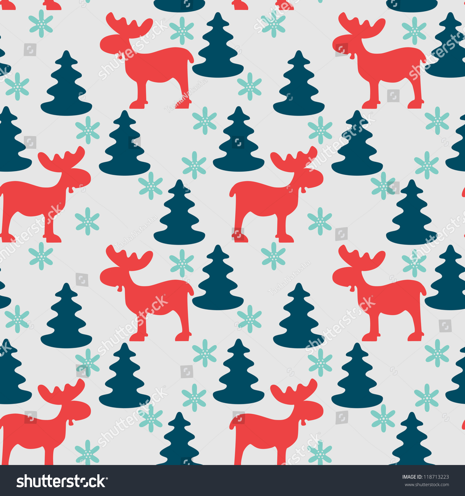 Seamless fir tree scandinavian pattern textile background wrapping - Christmas Seamless Pattern With Moose Fir Tree And Snowflake Silhouettes Vector Illustration
