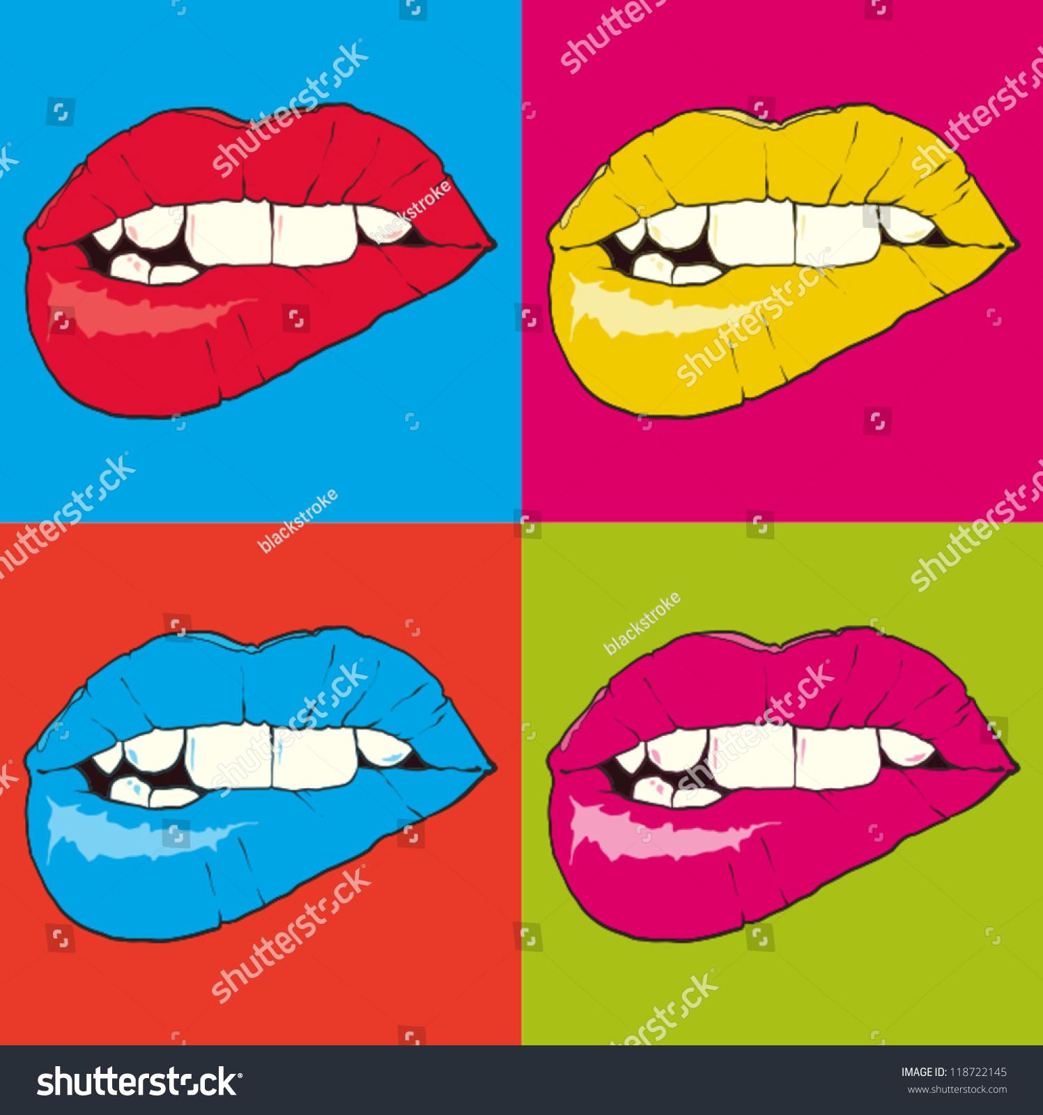 popart lips stock vector 118722145 shutterstock. Black Bedroom Furniture Sets. Home Design Ideas