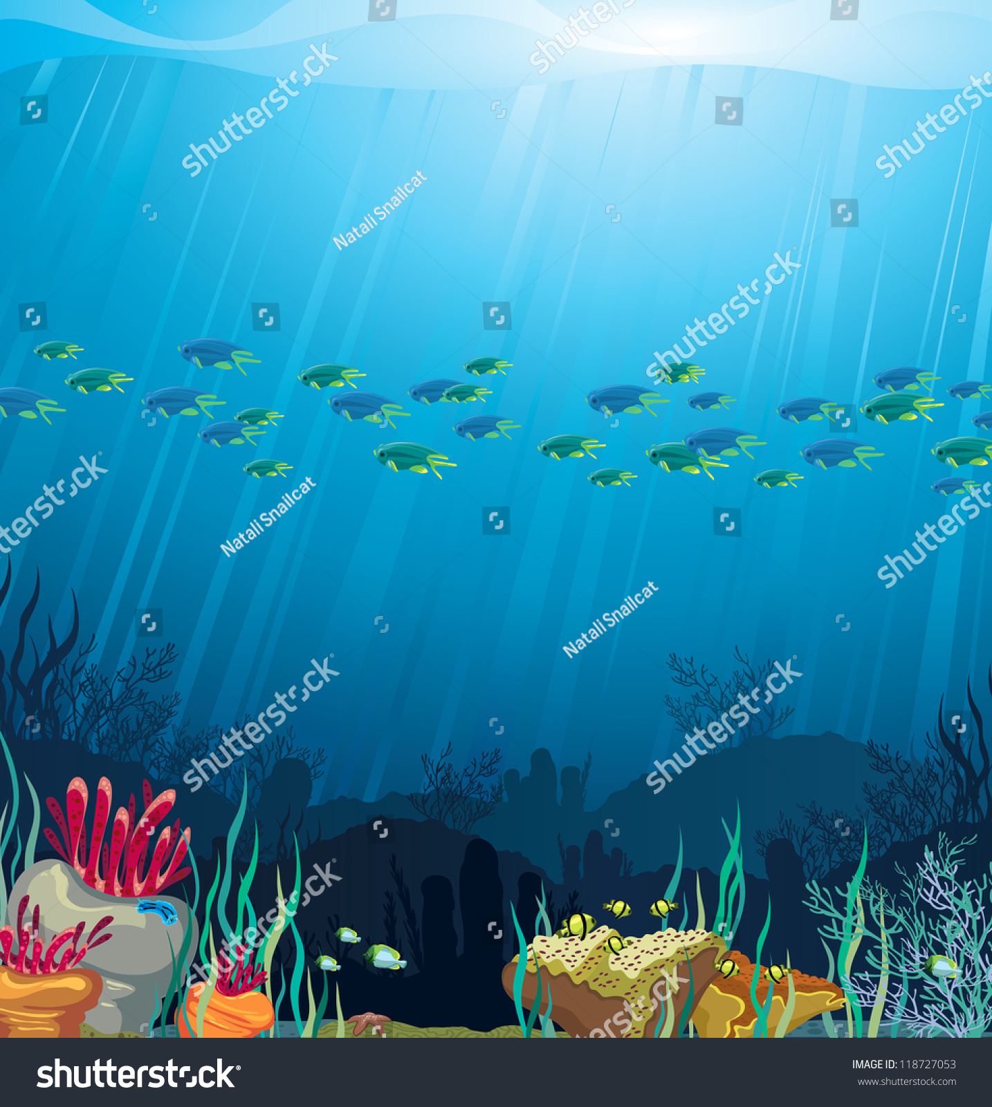 Coral Reef Background: Coral Reef With Fish On A Blue Sea