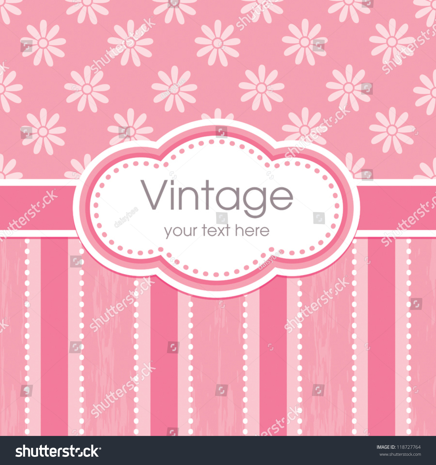 vector greeting card template vintage floral stock vector