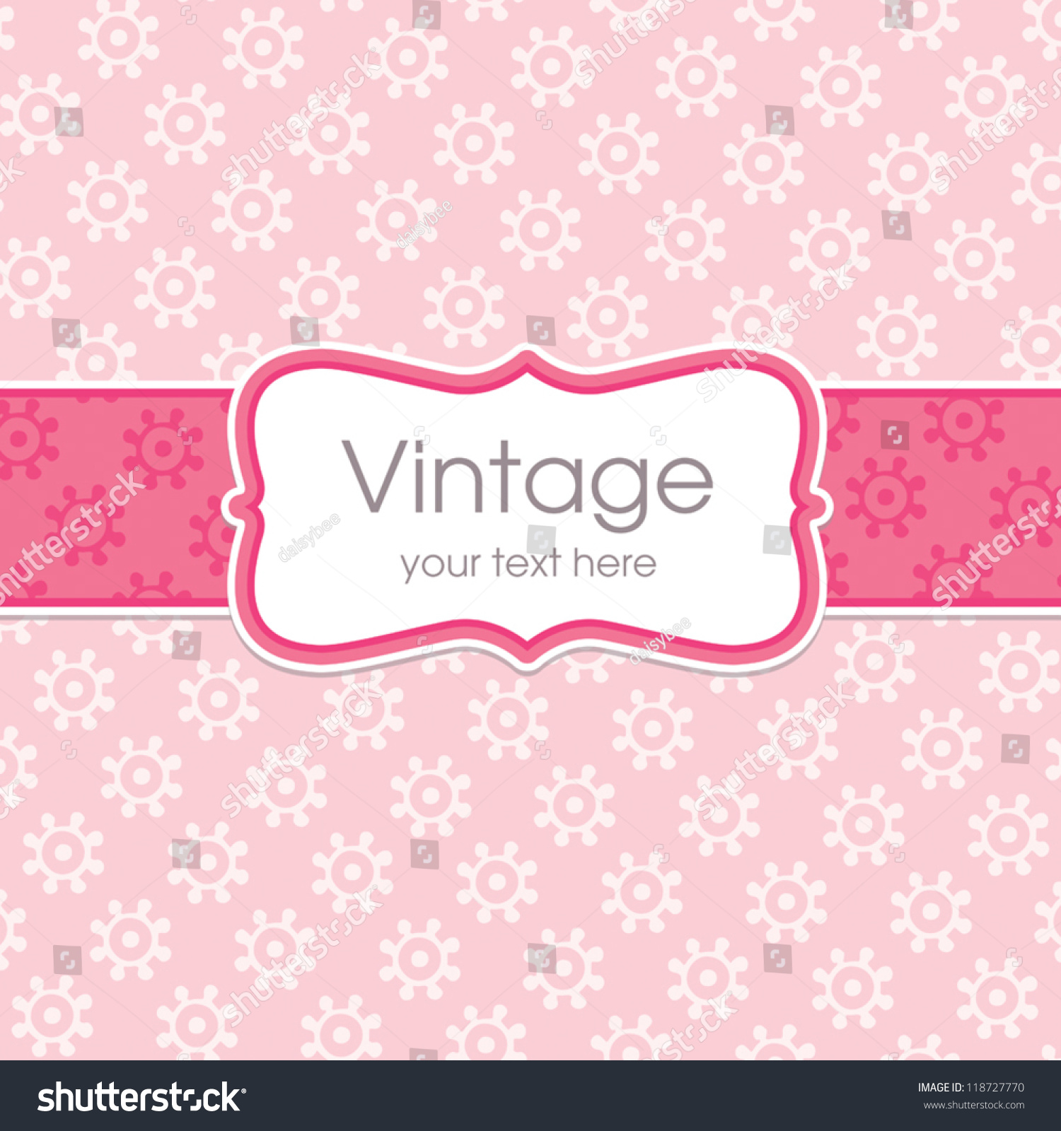 vector greeting card template sweet vintage stock vector