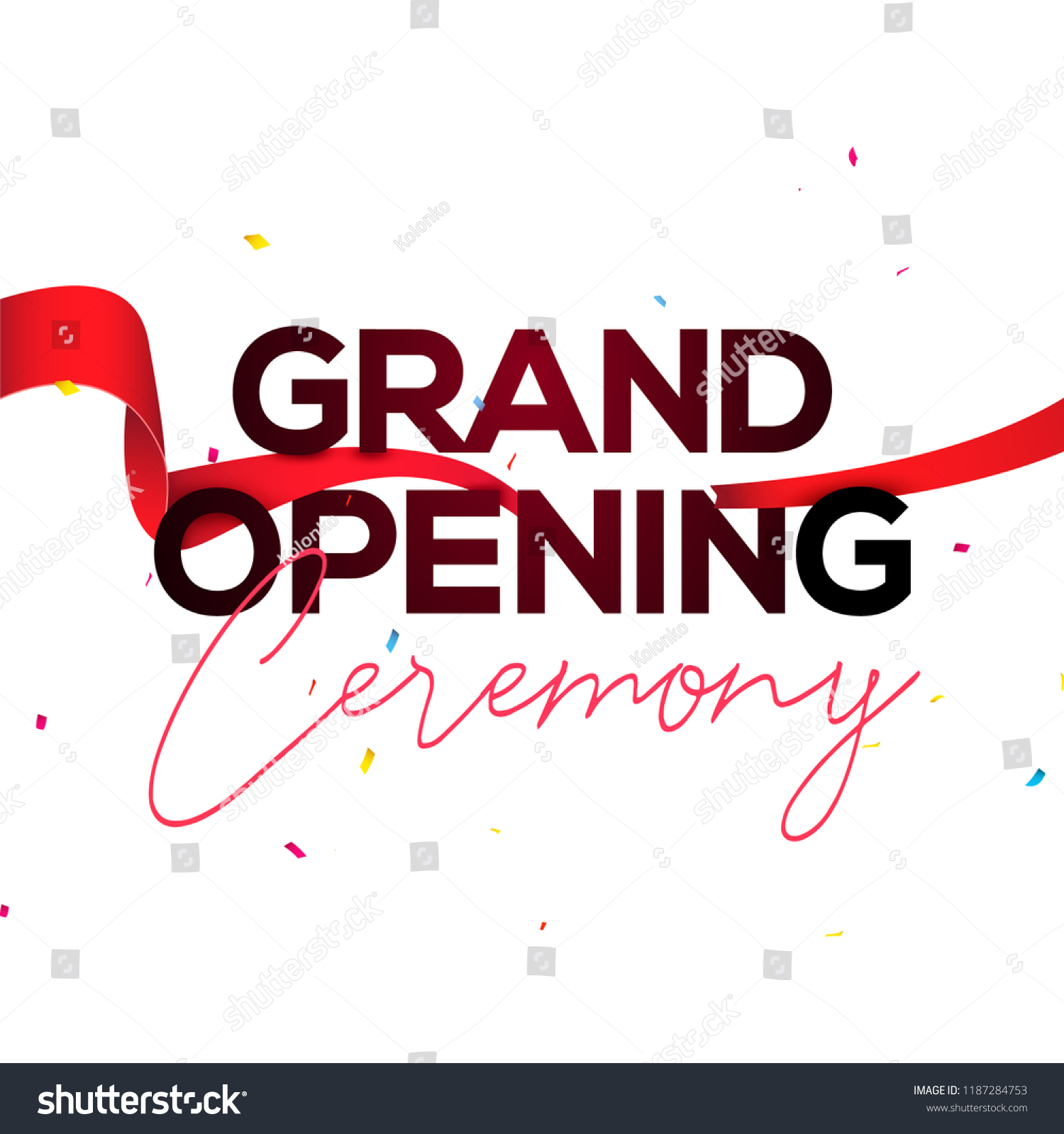 grand opening ceremony poster concept invitation stock vector