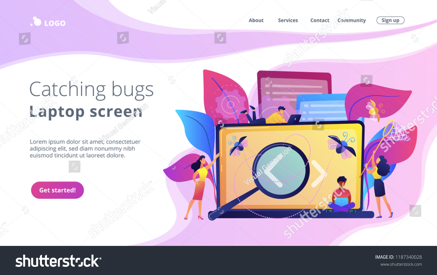People Catching Bugs On Laptop Screen Stock Vector Royalty Free 1187340028