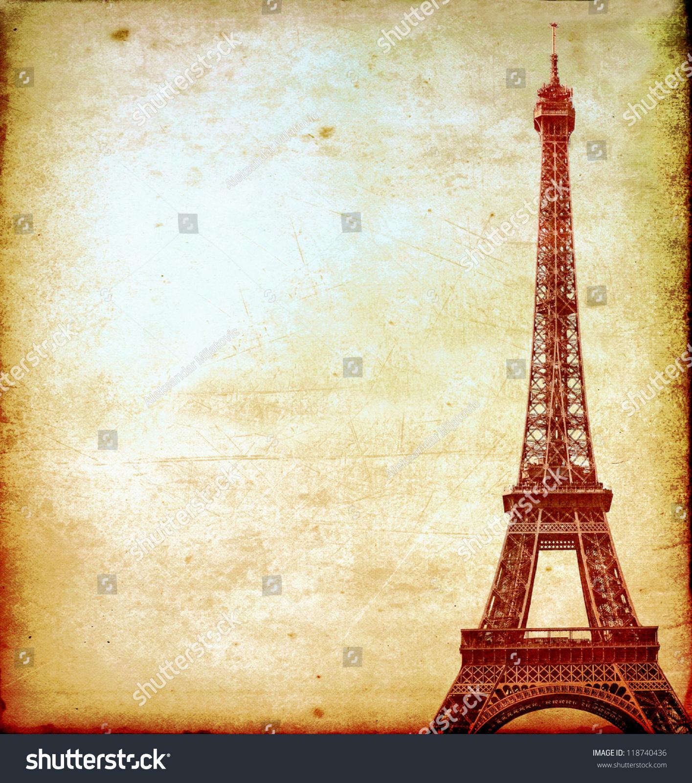 Eiffel Tower Vintage Postcard Stock Photo 118740436